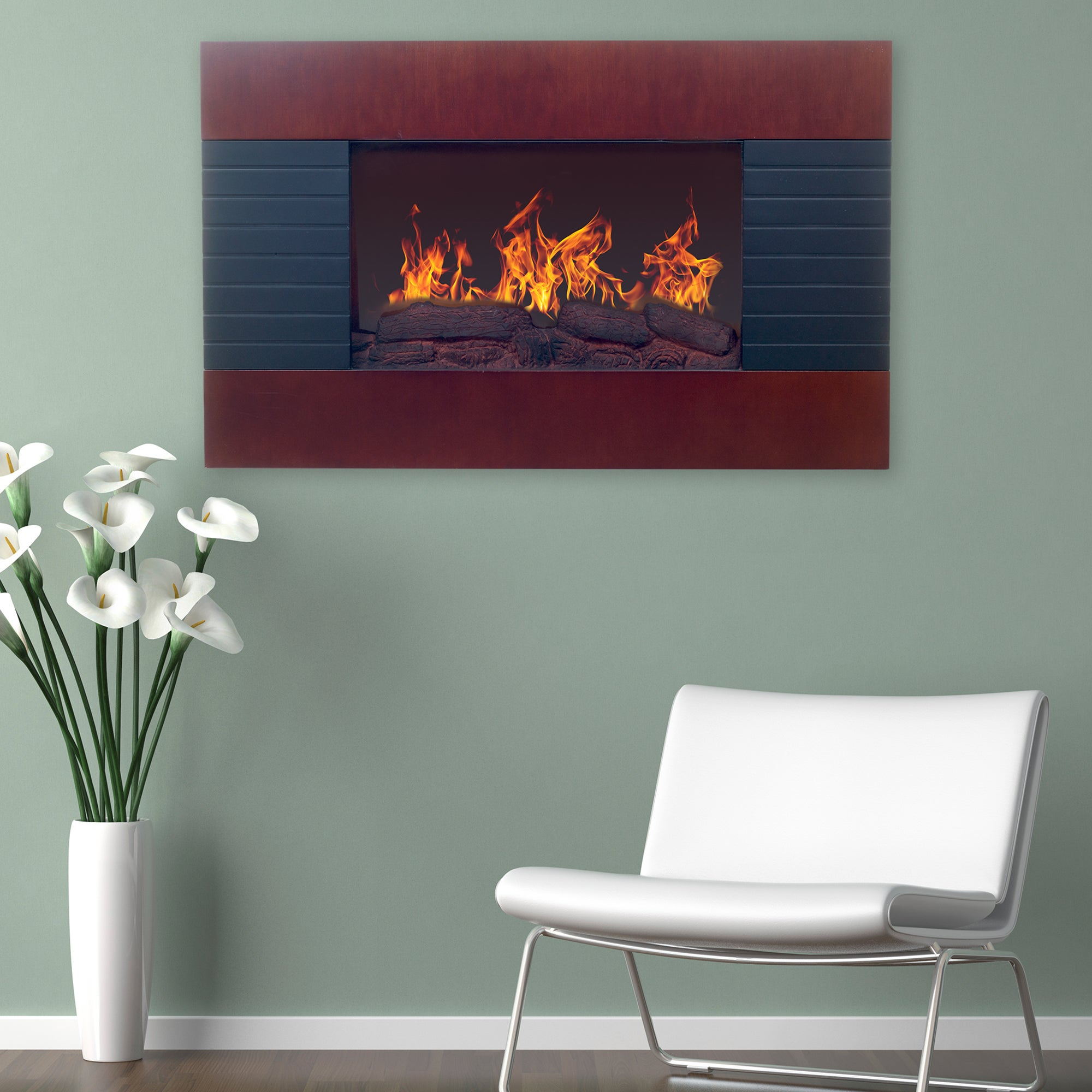 Northwest Mahogany Wall Mounted Electric Fireplace With Remote Free Shipping Today 16791380