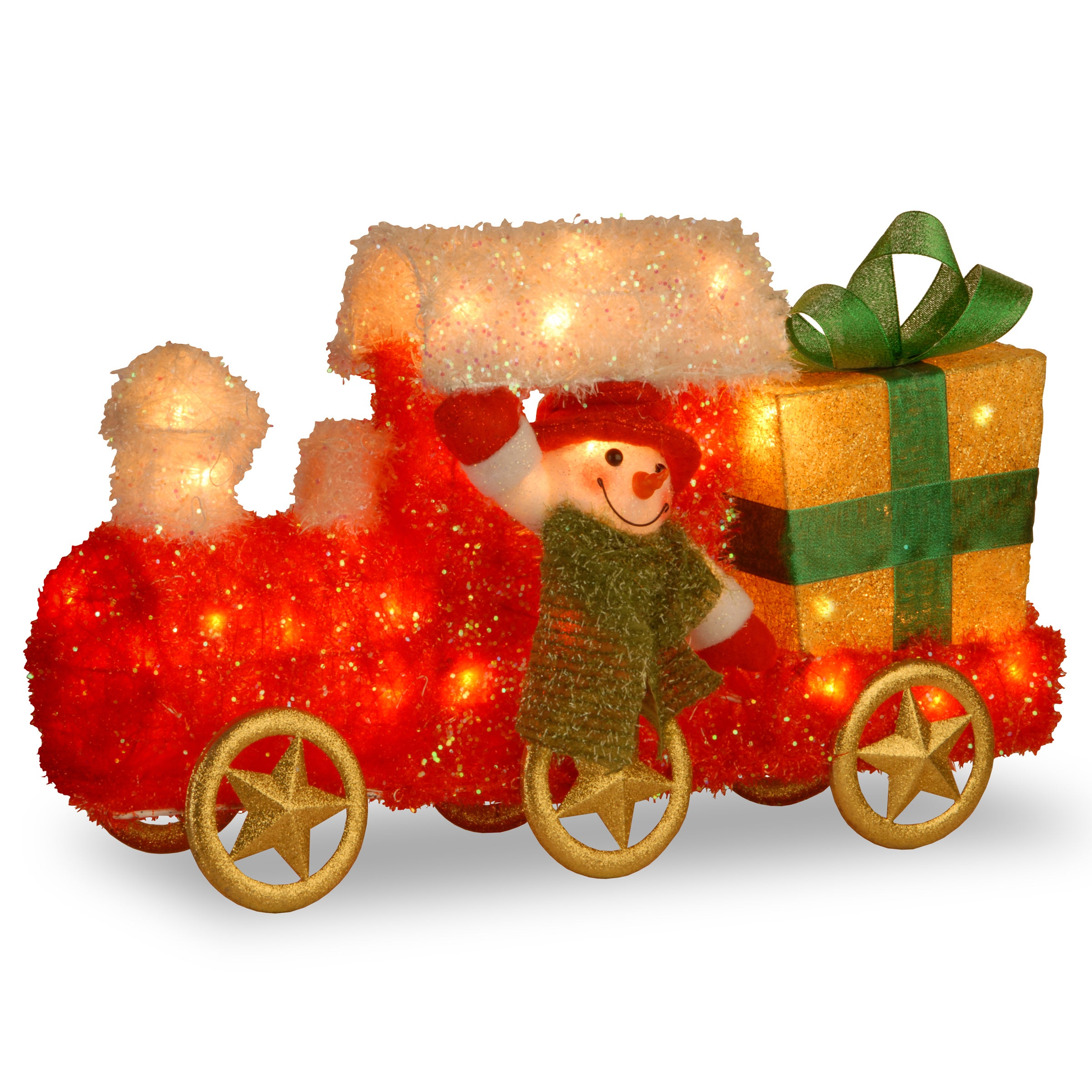 shop 23 inch tinsel train with gift and snowman with green scarf with 35 clear outdoor lights on sale free shipping today overstockcom 9606112