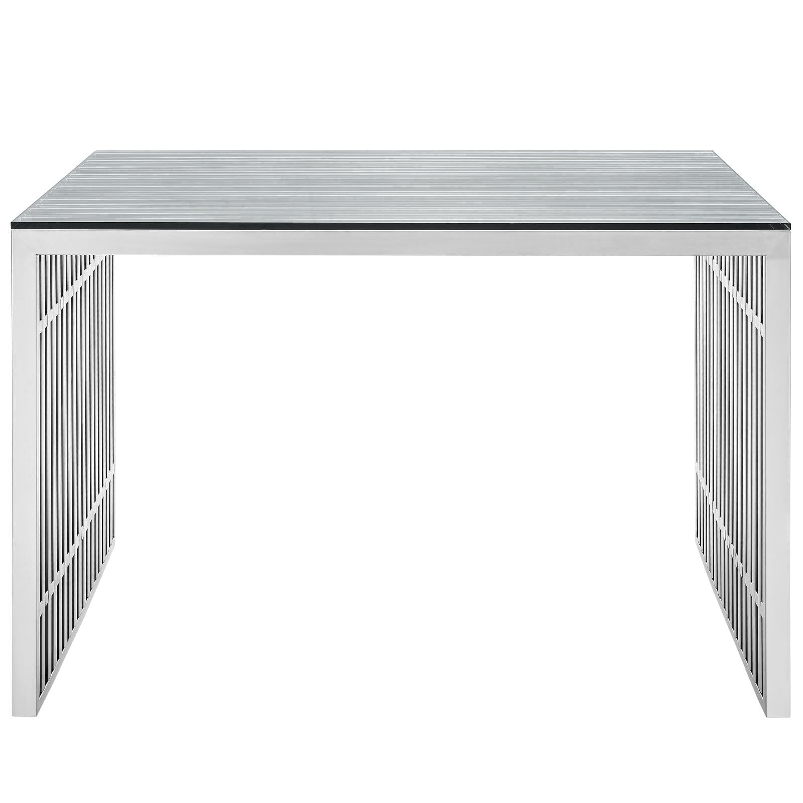 gridiron stainless steel desk  free shipping today  overstockcom . gridiron stainless steel desk  free shipping today  overstock