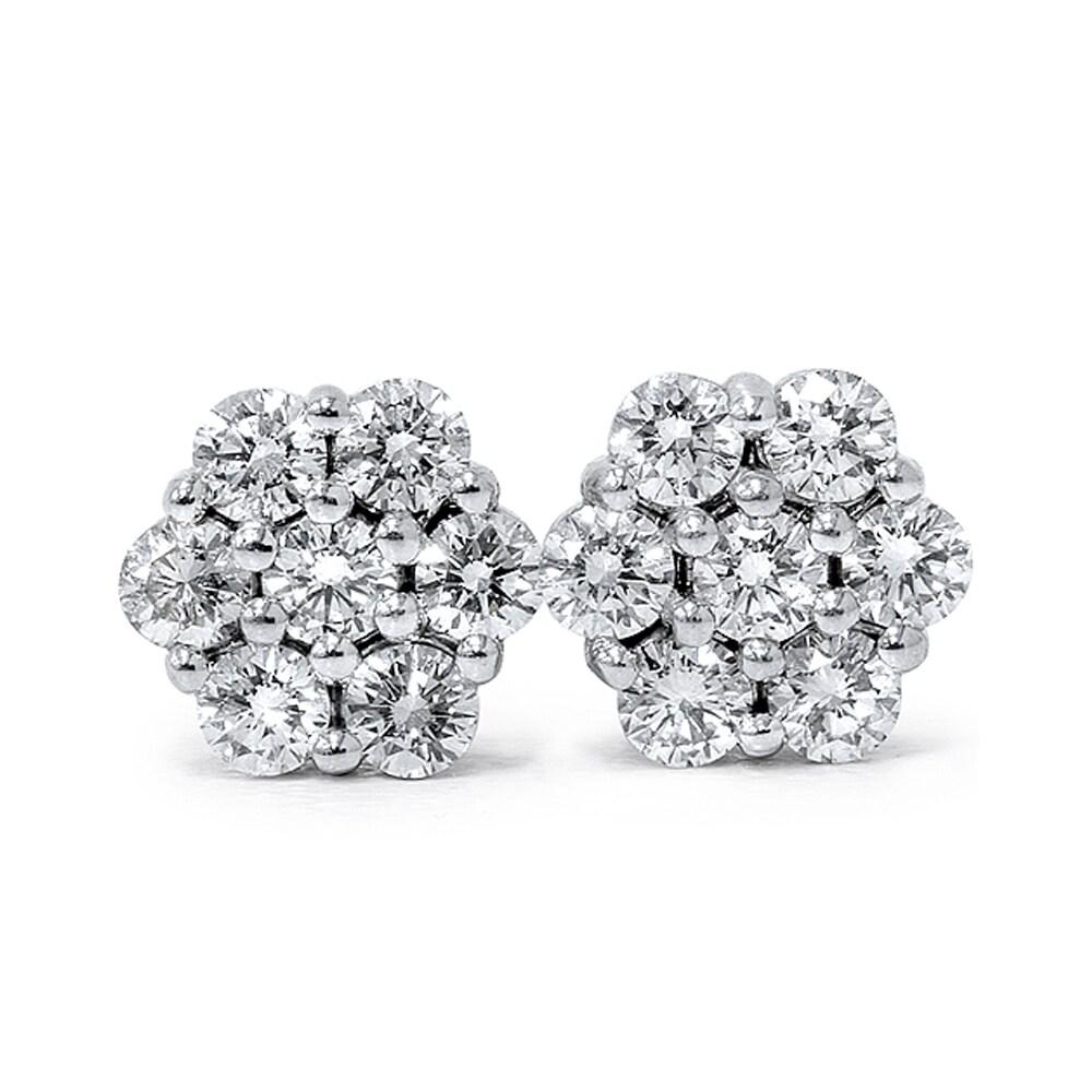 14k White Gold 1ct Tdw Flower Cer Diamond Stud Earrings Free Shipping Today 9609146