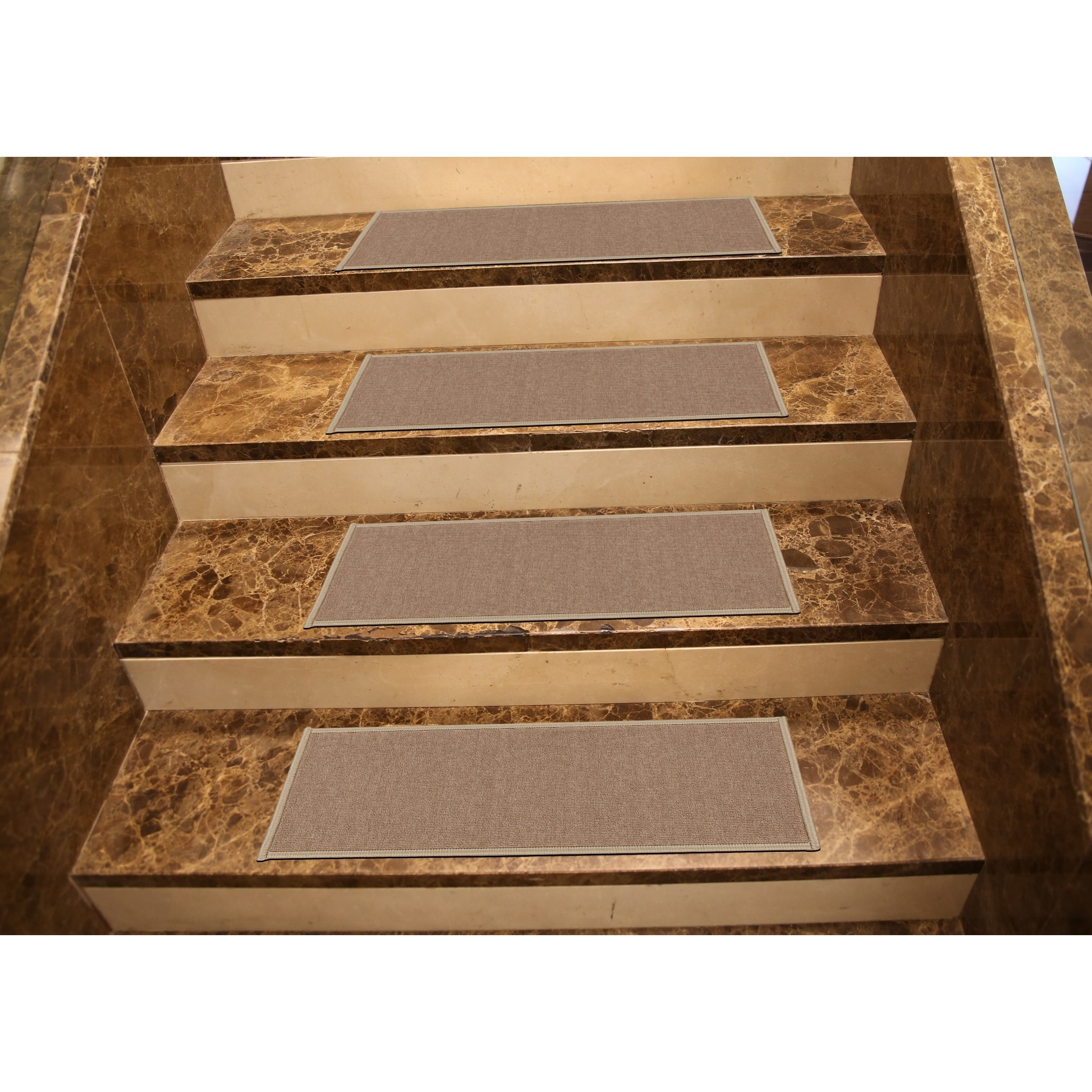 Ottomanson Dark Beige Skid Resistant Stair Treads (Set Of 7)   Free  Shipping On Orders Over $45   Overstock.com   16796001