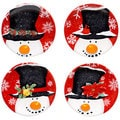 Certified International Top Hat Snowman 6-inch Canape Plate