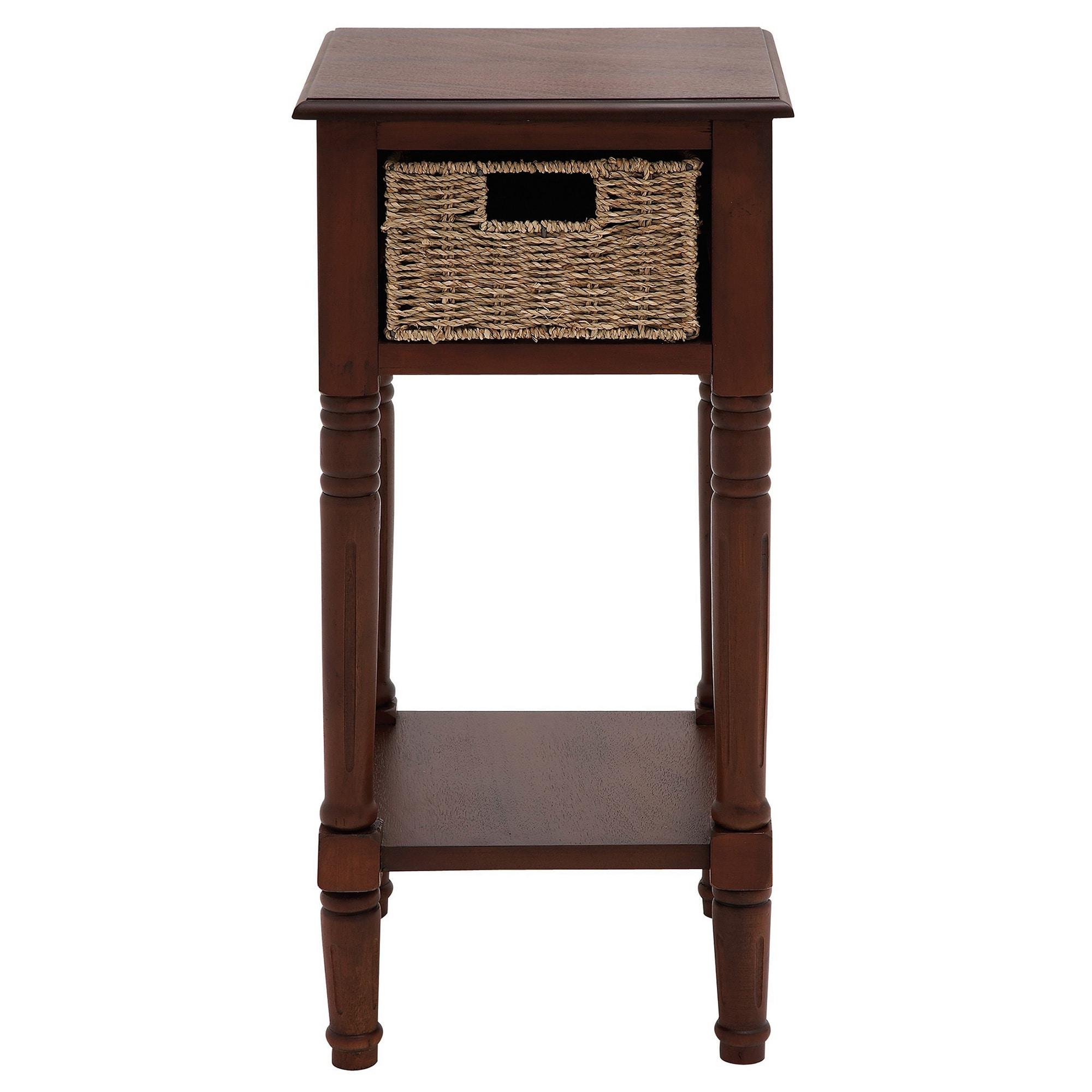 Portmand handcrafted wood burlap basket end accent table