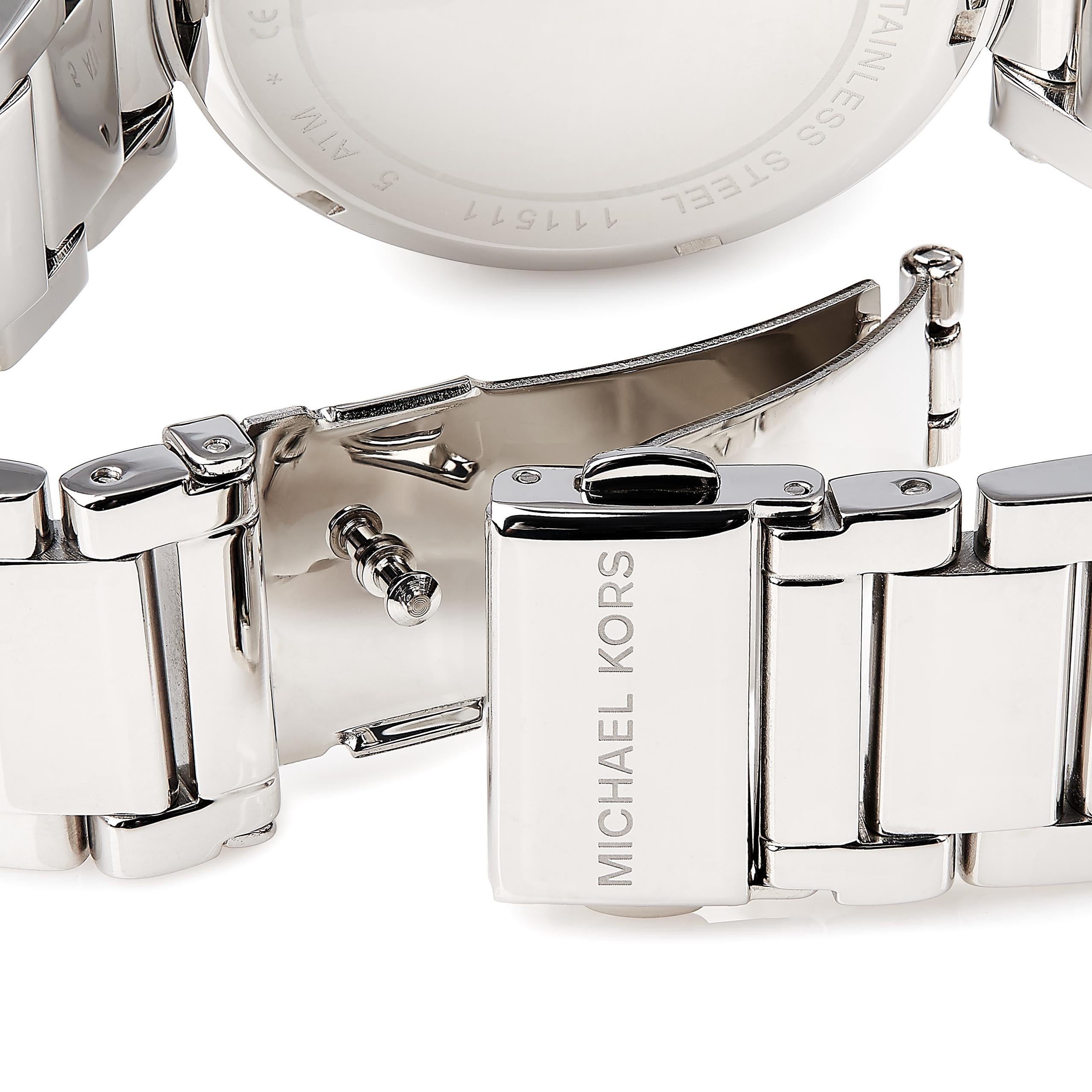 3149b8694c72 Shop Michael Kors Women s Parker MK5925 Silver Stainless-Steel Quartz Watch  with Silver Dial - Free Shipping Today - Overstock - 9612813