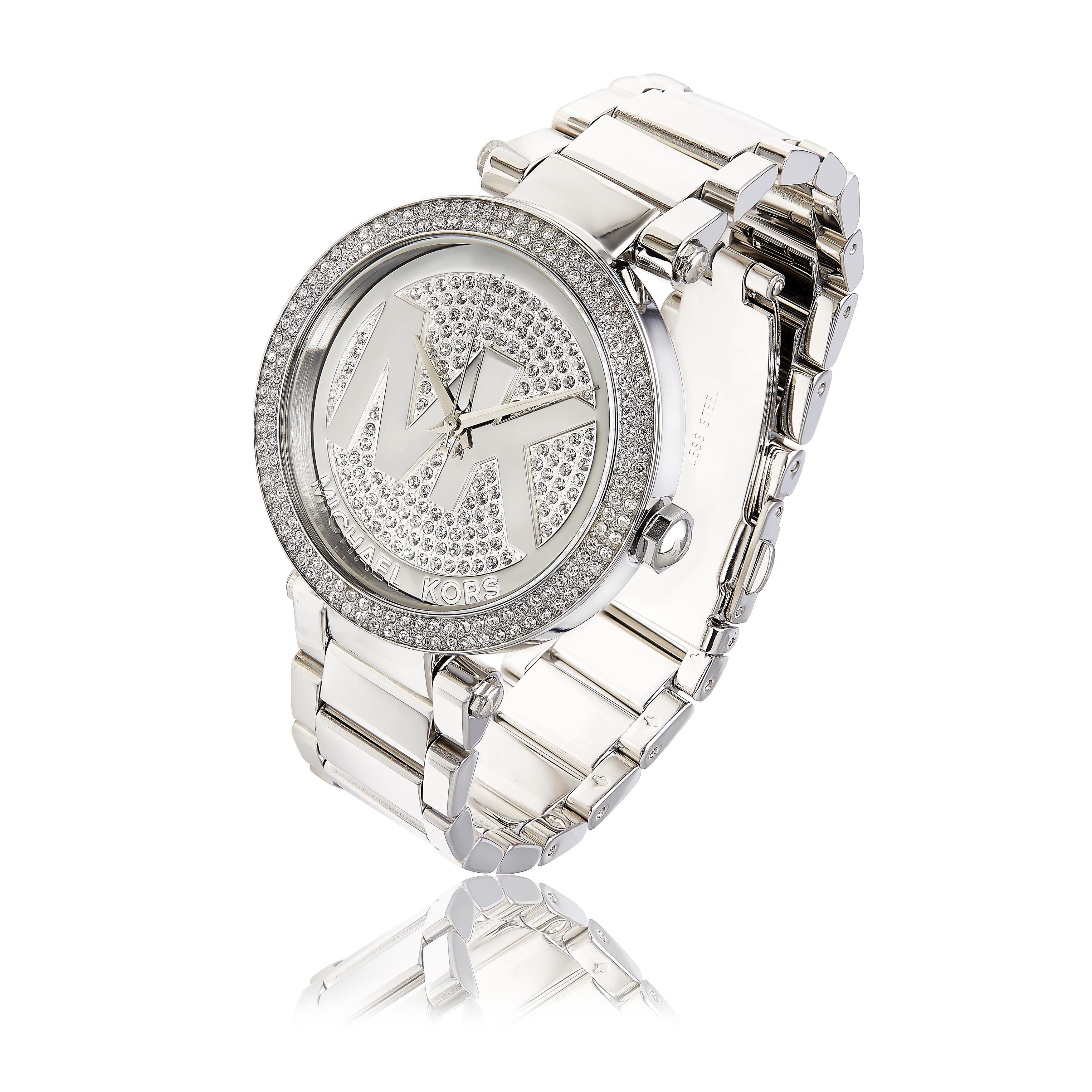 db3cdc3d44f8 Shop Michael Kors Women s Parker MK5925 Silver Stainless-Steel Quartz Watch  with Silver Dial - Free Shipping Today - Overstock - 9612813