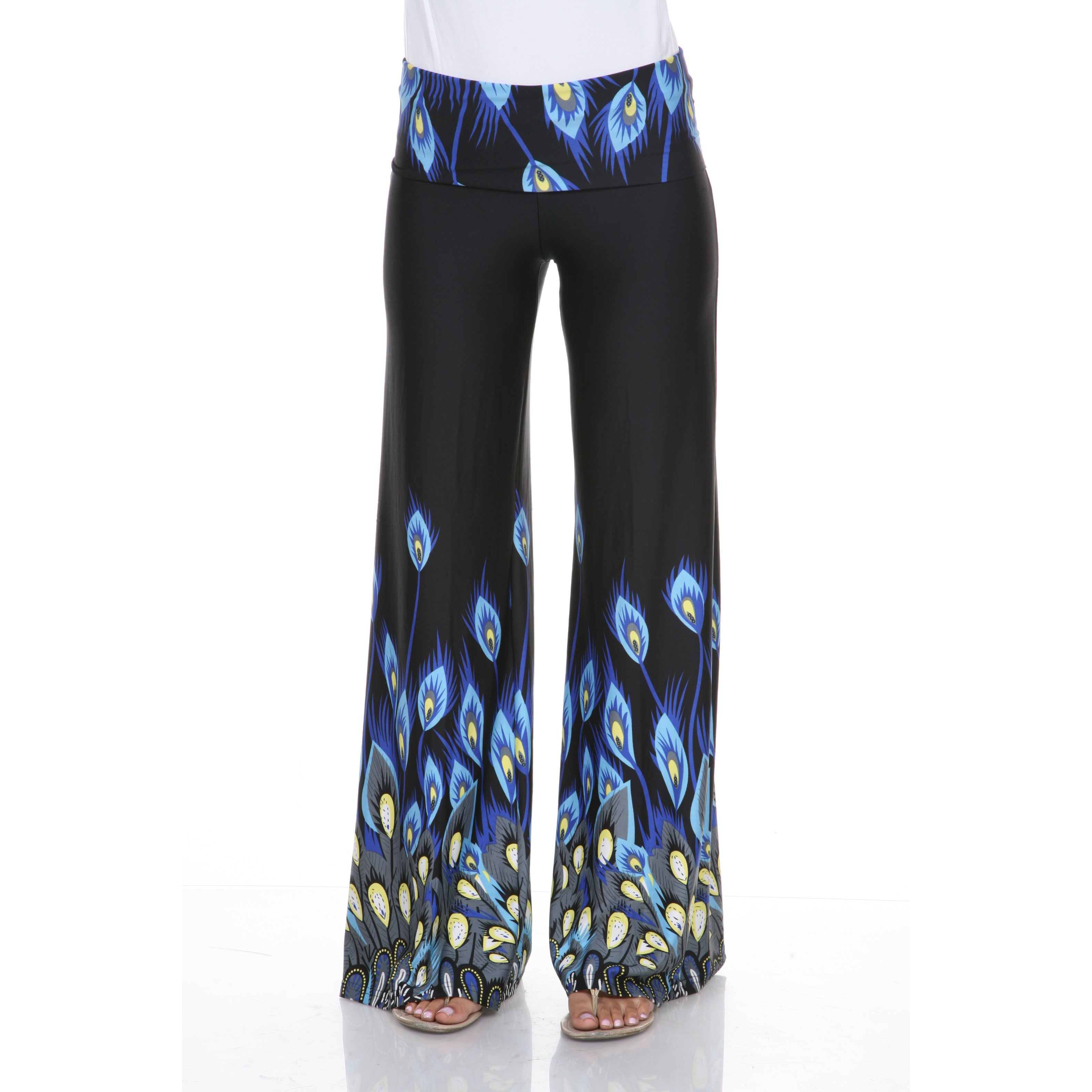 bf17854901395e Shop White Mark Women's 'Peacocks of a Feather' Palazzo Pants - Free  Shipping On Orders Over $45 - Overstock - 9613460