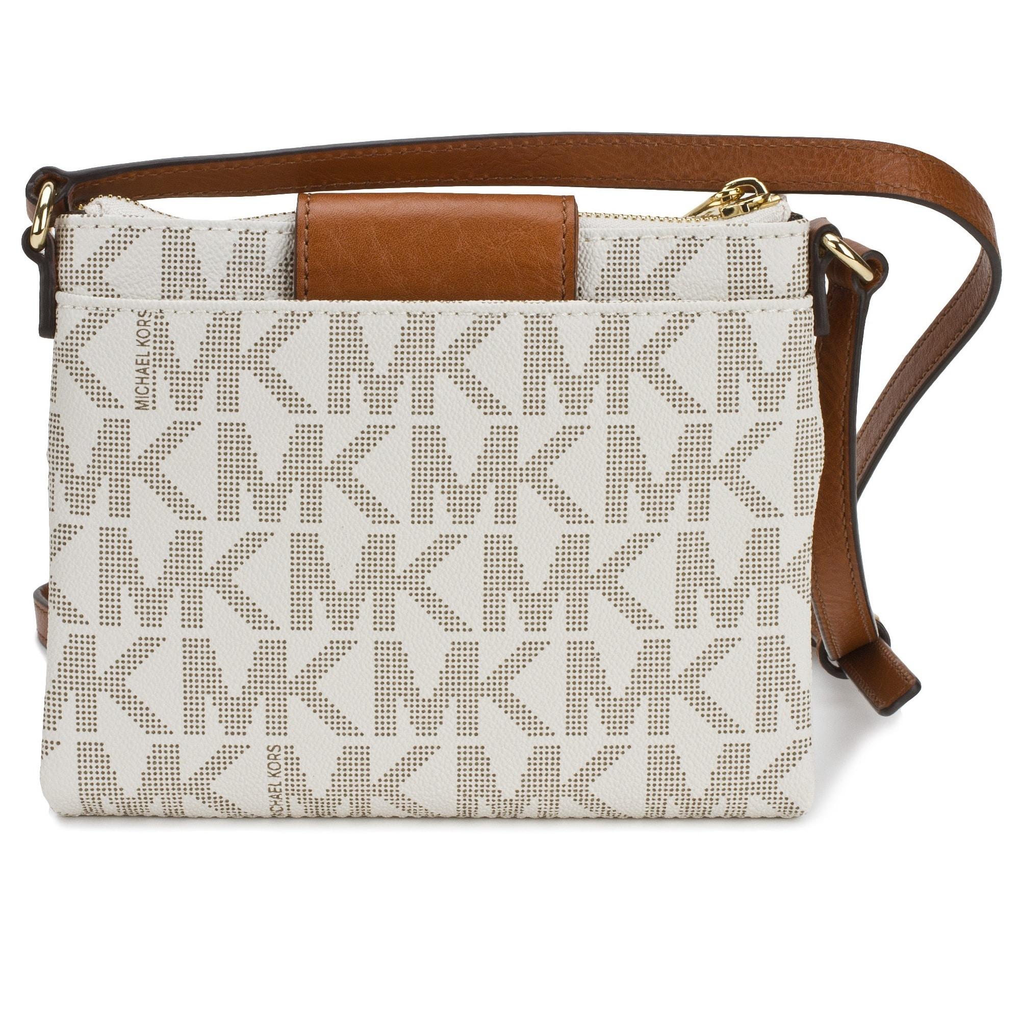 943d8252efdf Shop Michael Kors Fulton Large Vanilla Signature Crossbody Handbag - Free  Shipping Today - Overstock - 9613573