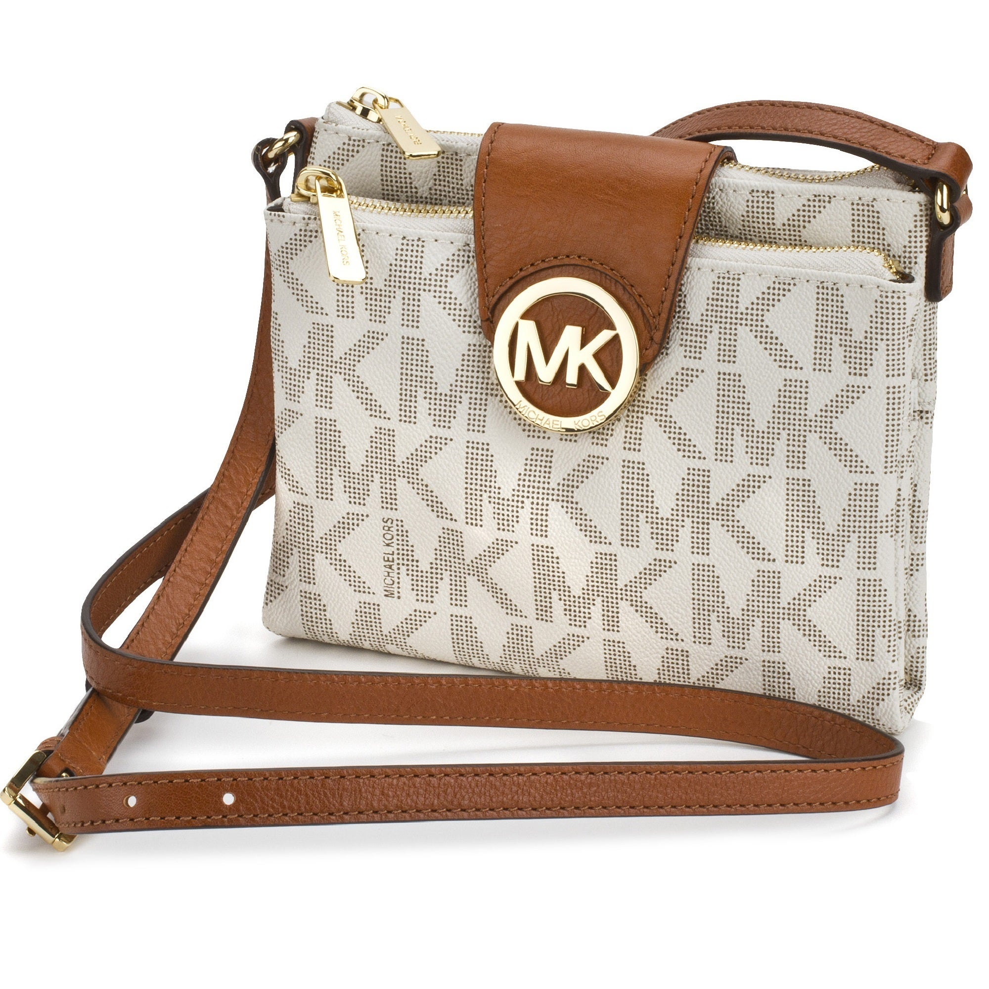 ... best price shop michael kors fulton large vanilla signature crossbody  handbag free shipping today overstock 9613573 ... 28f538f188b96