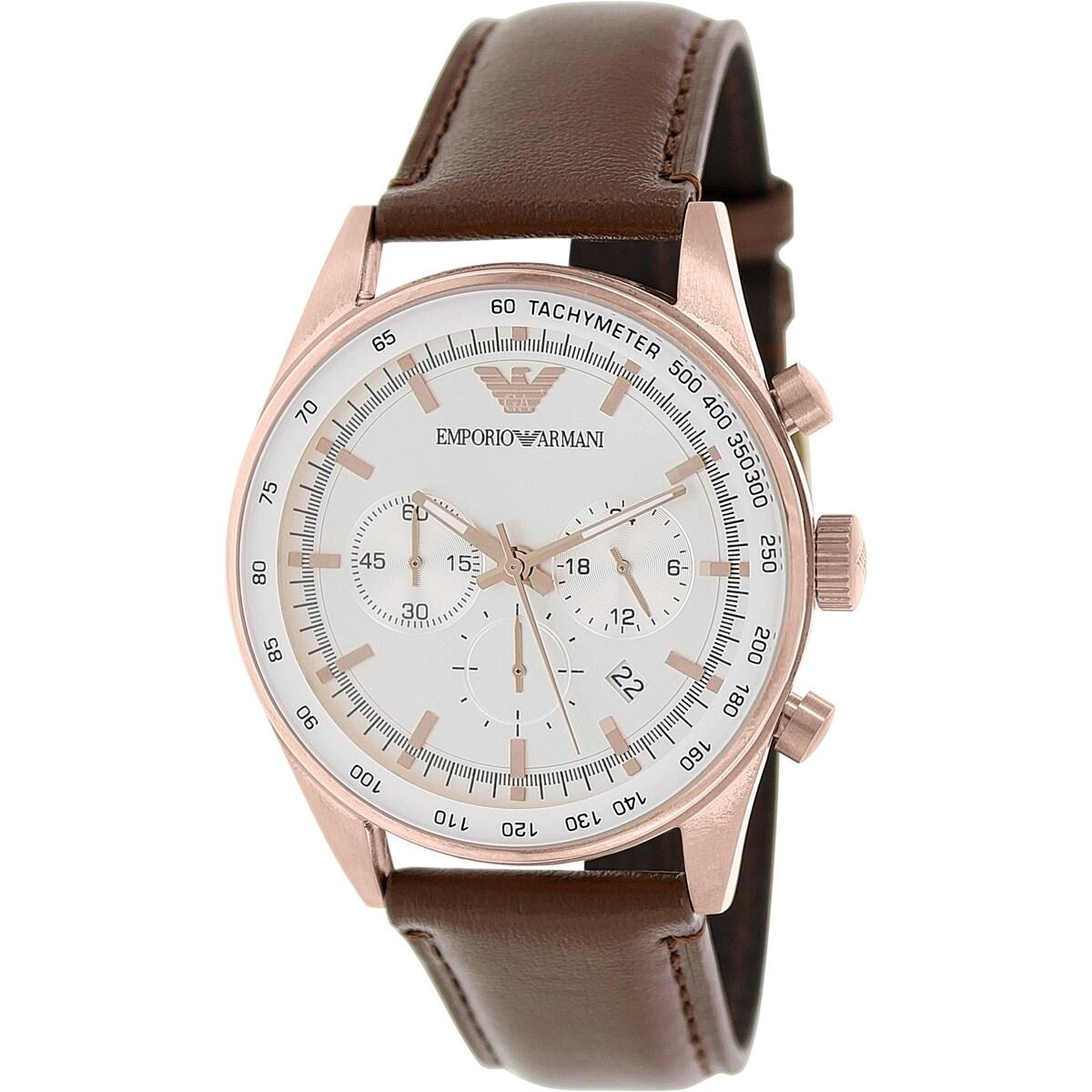 45e1e69d5 Shop Emporio Armani Men's Sportivo AR5995 Brown Leather Quartz Watch with Silver  Dial - Ships To Canada - Overstock - 9614230