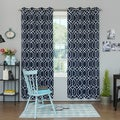 Aurora Home Geometric Trellis Printed Room Darkening Curtain Panel Pair
