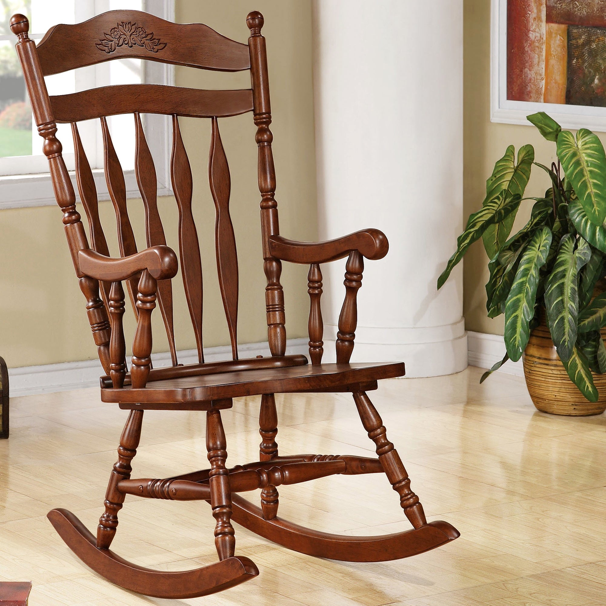 Madrone Windsor Country Style Rocking Chair   Free Shipping Today    Overstock   16800022