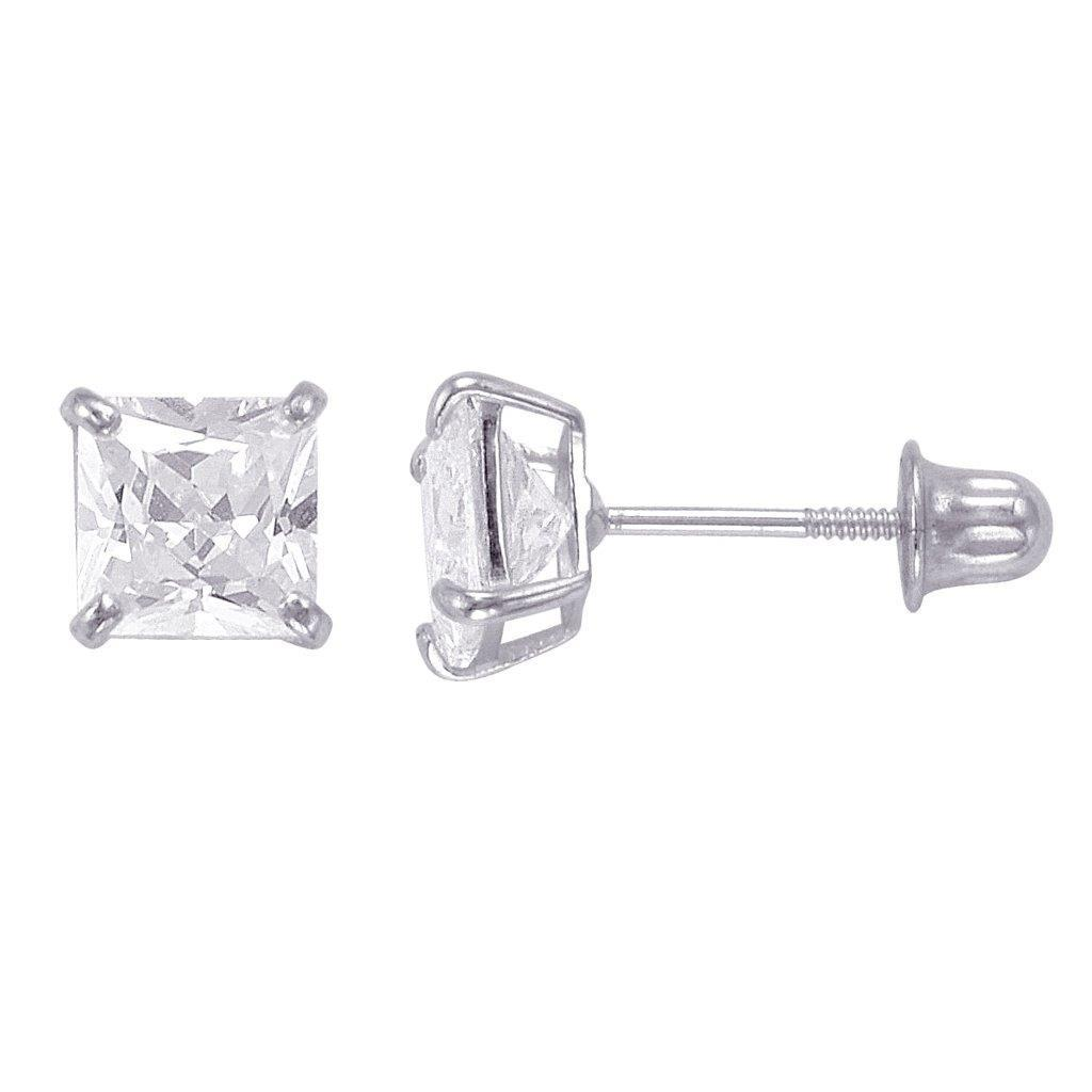 ff9320fc9 Shop 14k Gold Princess-cut Cubic Zirconia 5mm Stud Earrings - Free ...