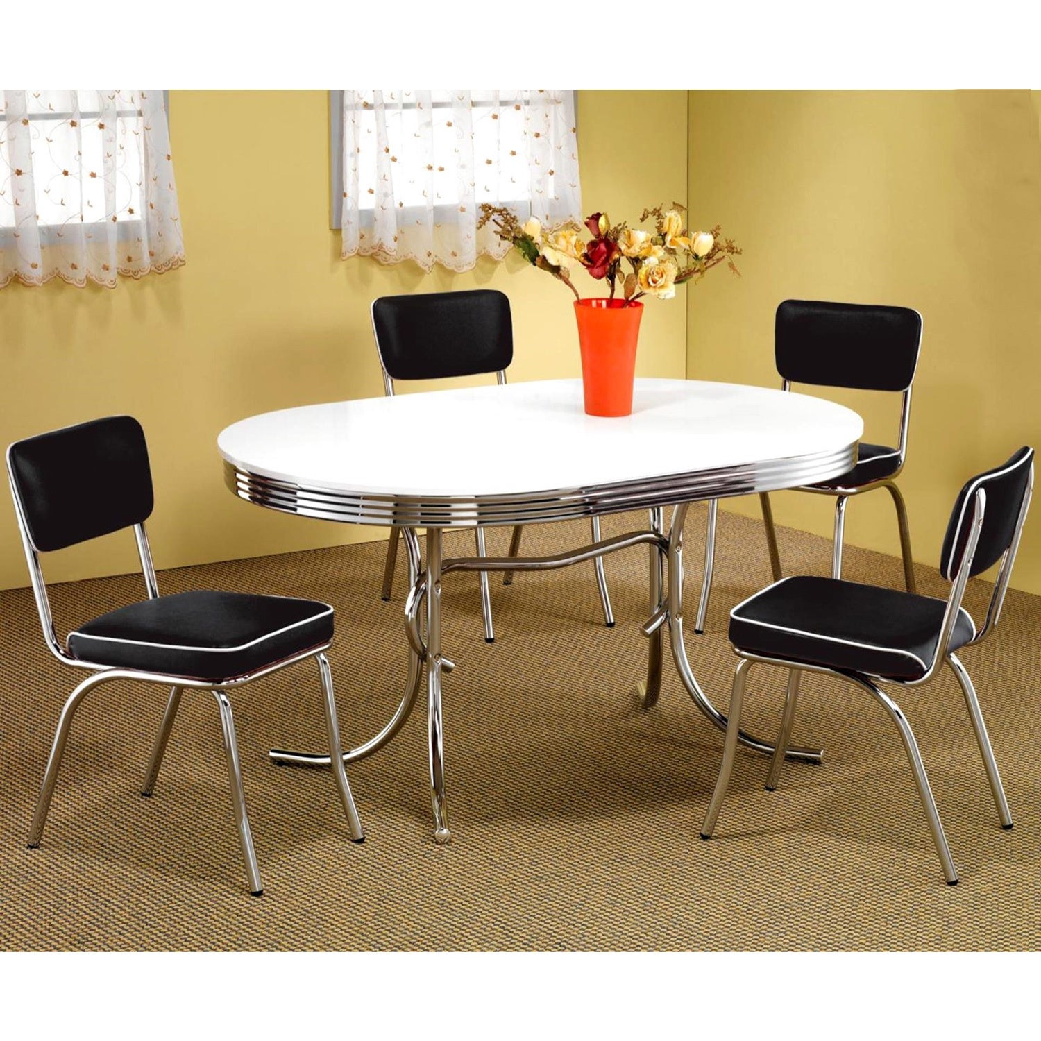 Attrayant Shop Vintage Nostalgic Bistro Design Chrome Base Dining Set   Free Shipping  Today   Overstock   9616167