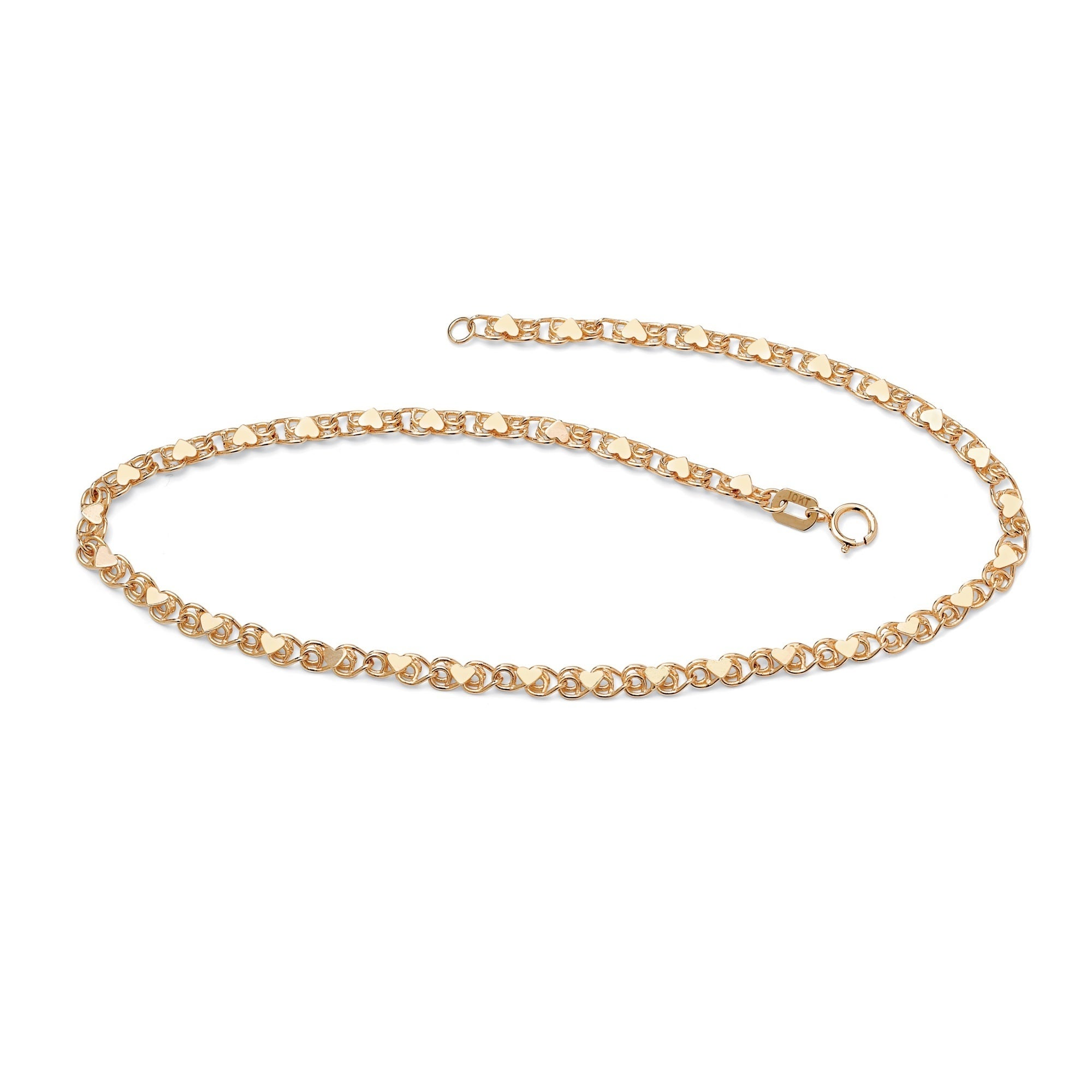 chain elle jewels ankle anklets open archives karat product page anklet heart double gold category bracelet by of cable