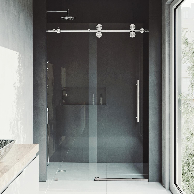 Shop Vigo Elan 68 Inch Frameless Sliding Shower Door Clearstainless