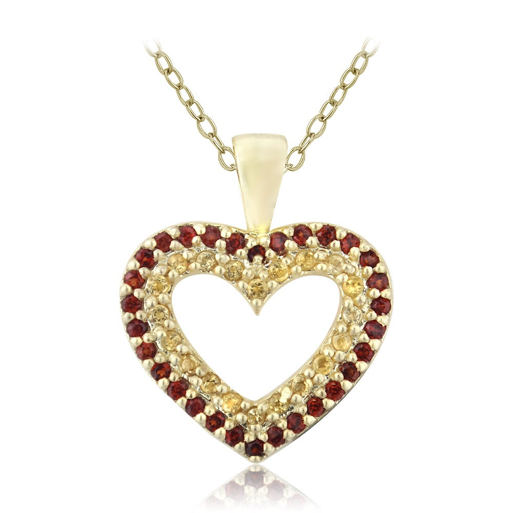 Glitzy rocks gold over silver citrine and garnet heart necklace glitzy rocks gold over silver citrine and garnet heart necklace free shipping on orders over 45 overstock 16803571 mozeypictures Images