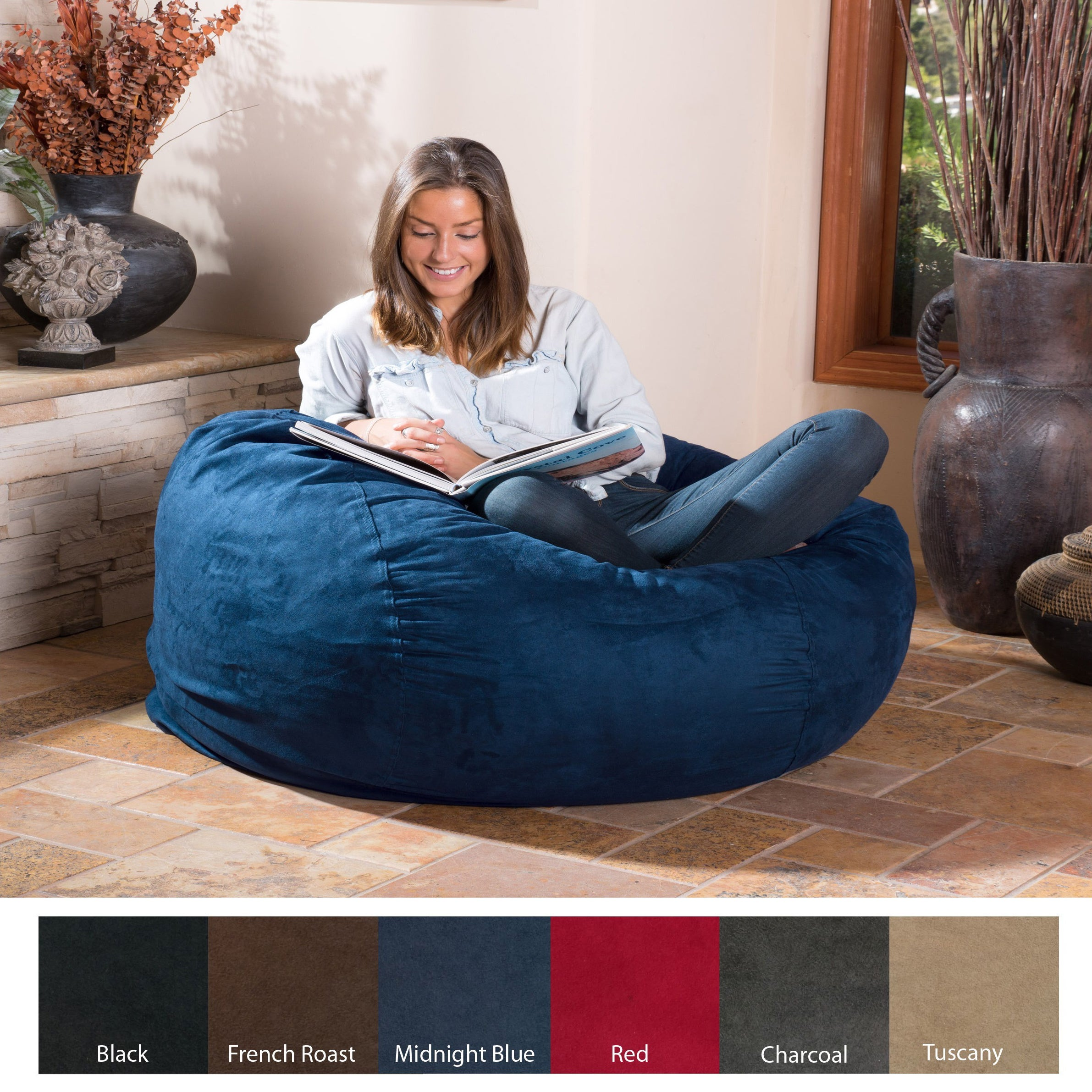 Shop Christopher Knight Home Lillian Faux Suede 4 Foot Lounge Beanbag Chair    Free Shipping Today   Overstock.com   9620865
