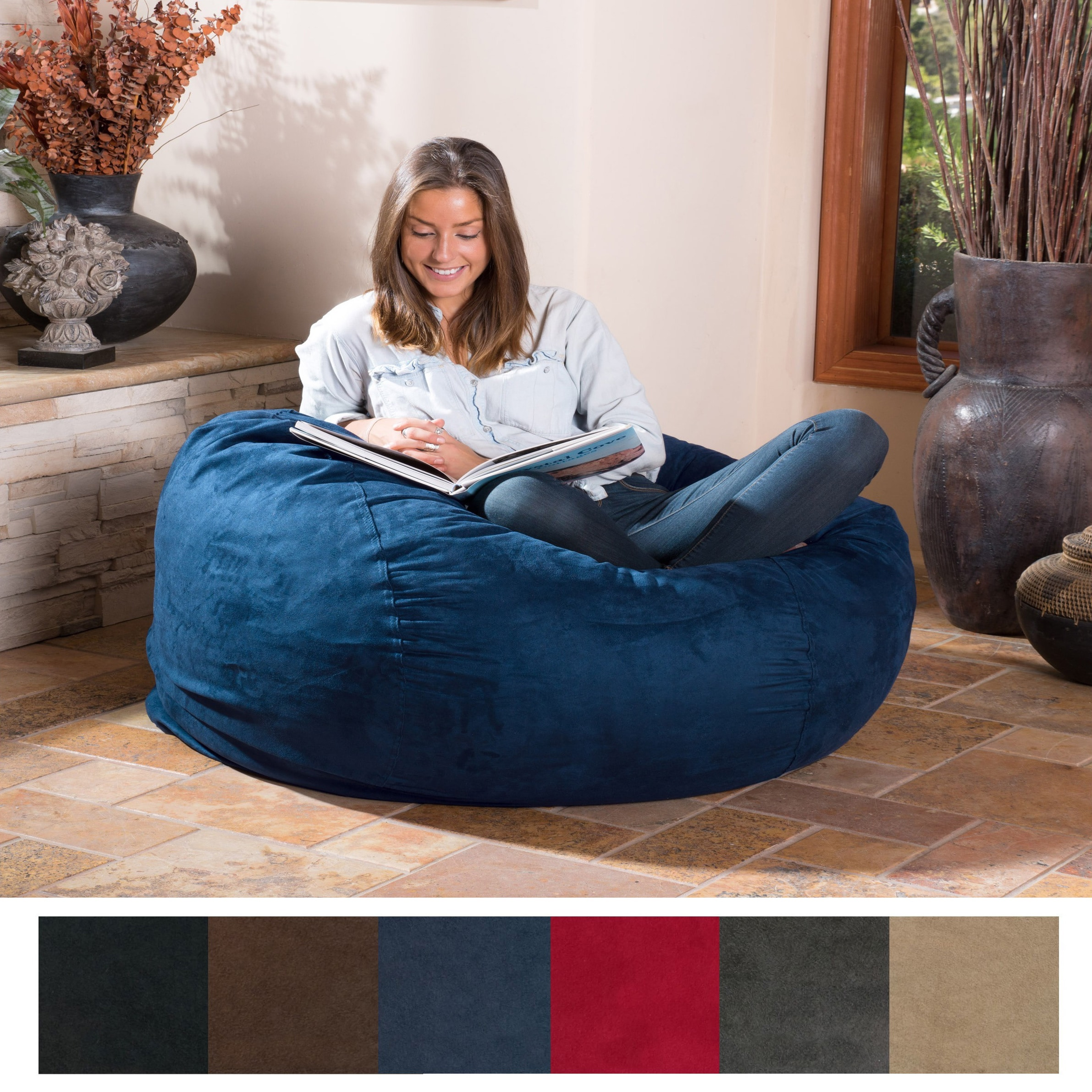 Christopher Knight Home Lillian Faux Suede 4-foot Lounge Beanbag Chair -  Free Shipping Today - Overstock.com - 16805970