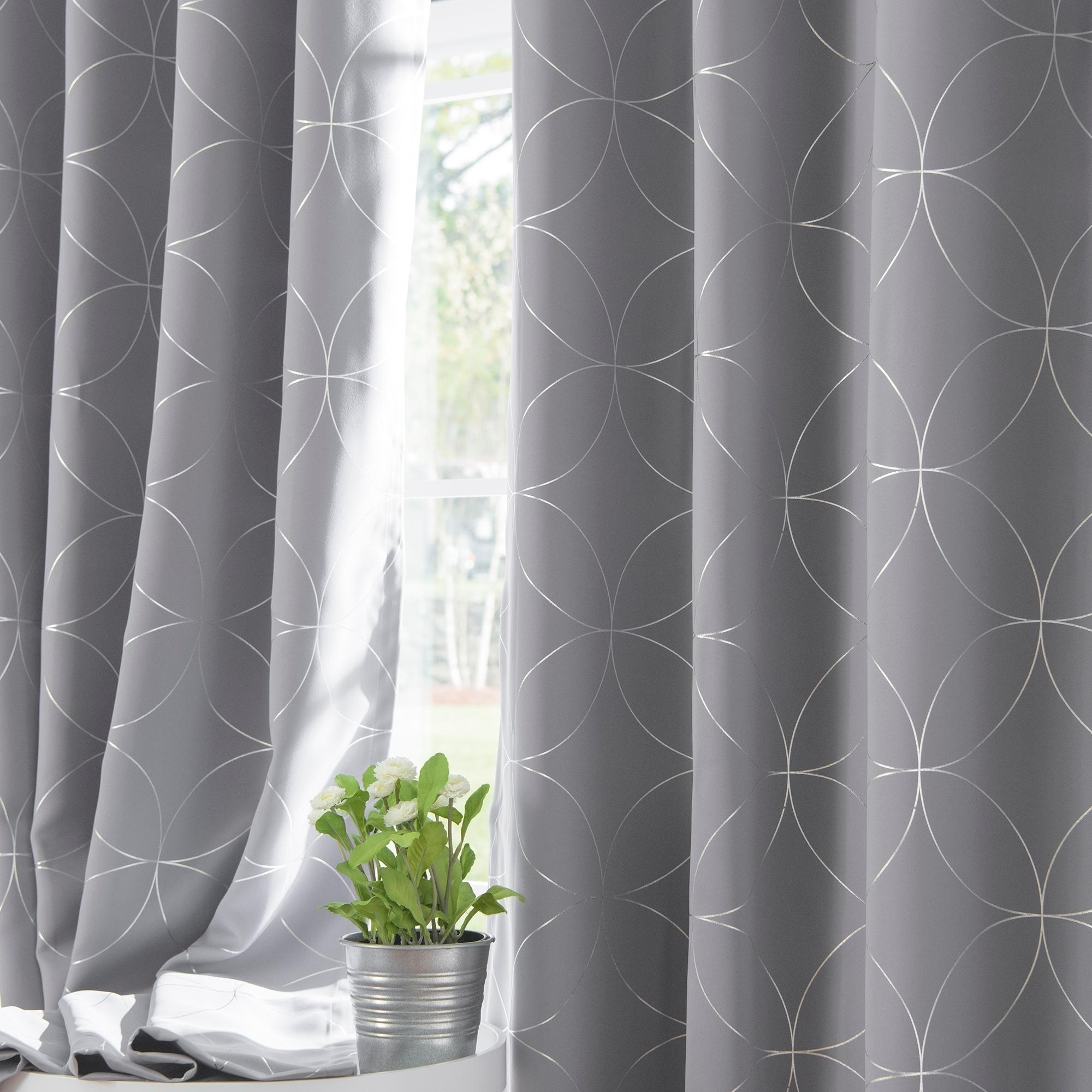 Shop Aurora Home Circle 84 Inch Foil Printed Blackout Curtain Panel Pair