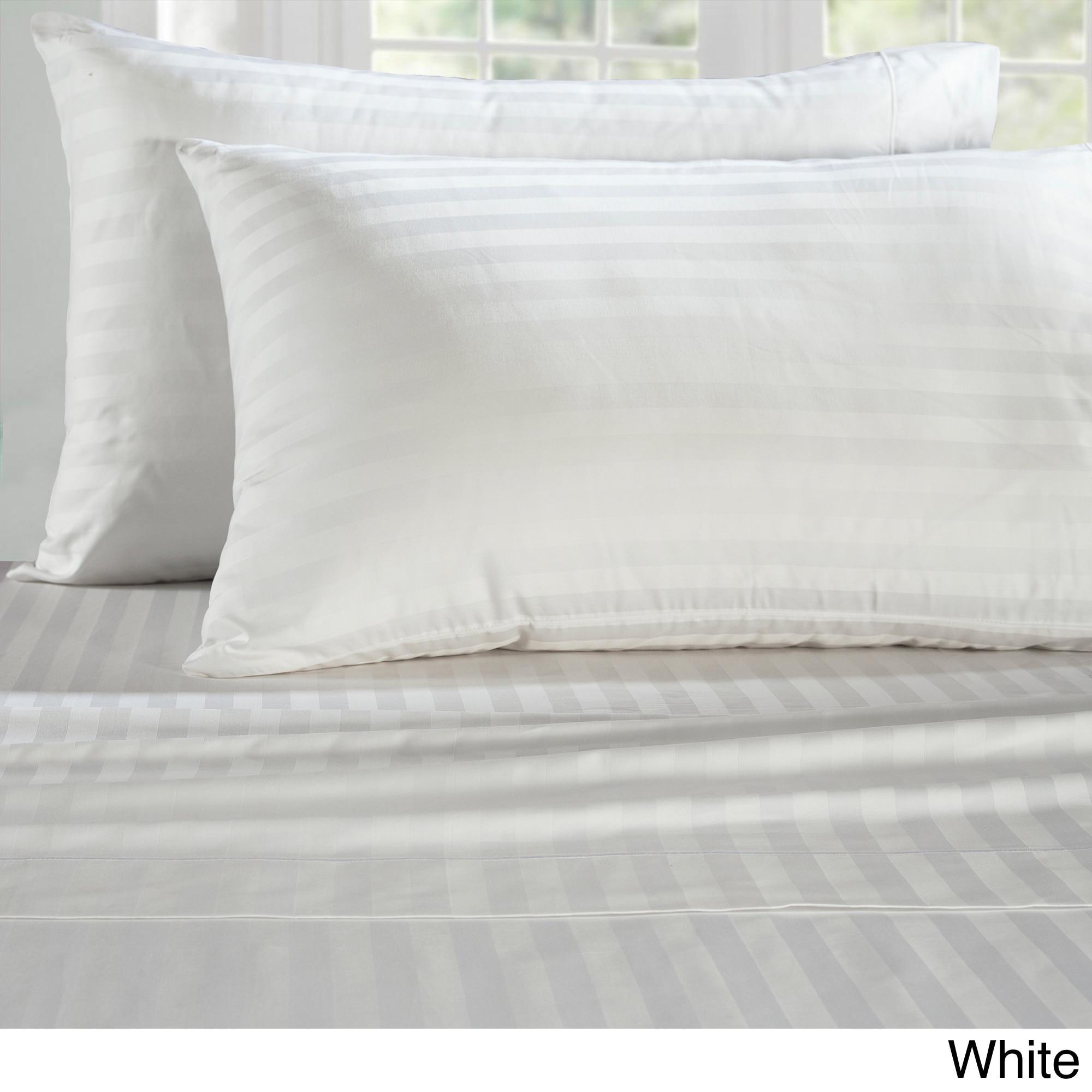 Luxury Supima Cotton 500 Thread Count Damask Stripe Sheet Set Free