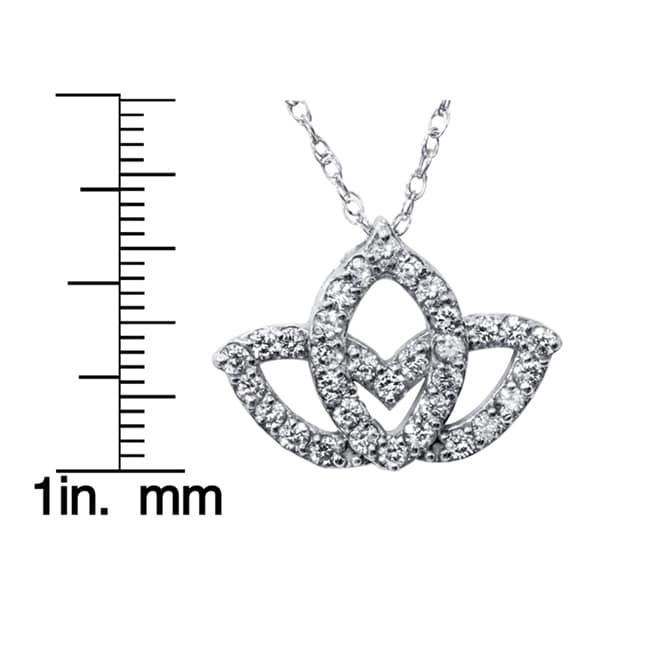 Shop 14k White Gold 25ct Tdw Diamond Lotus Flower Pendant Necklace