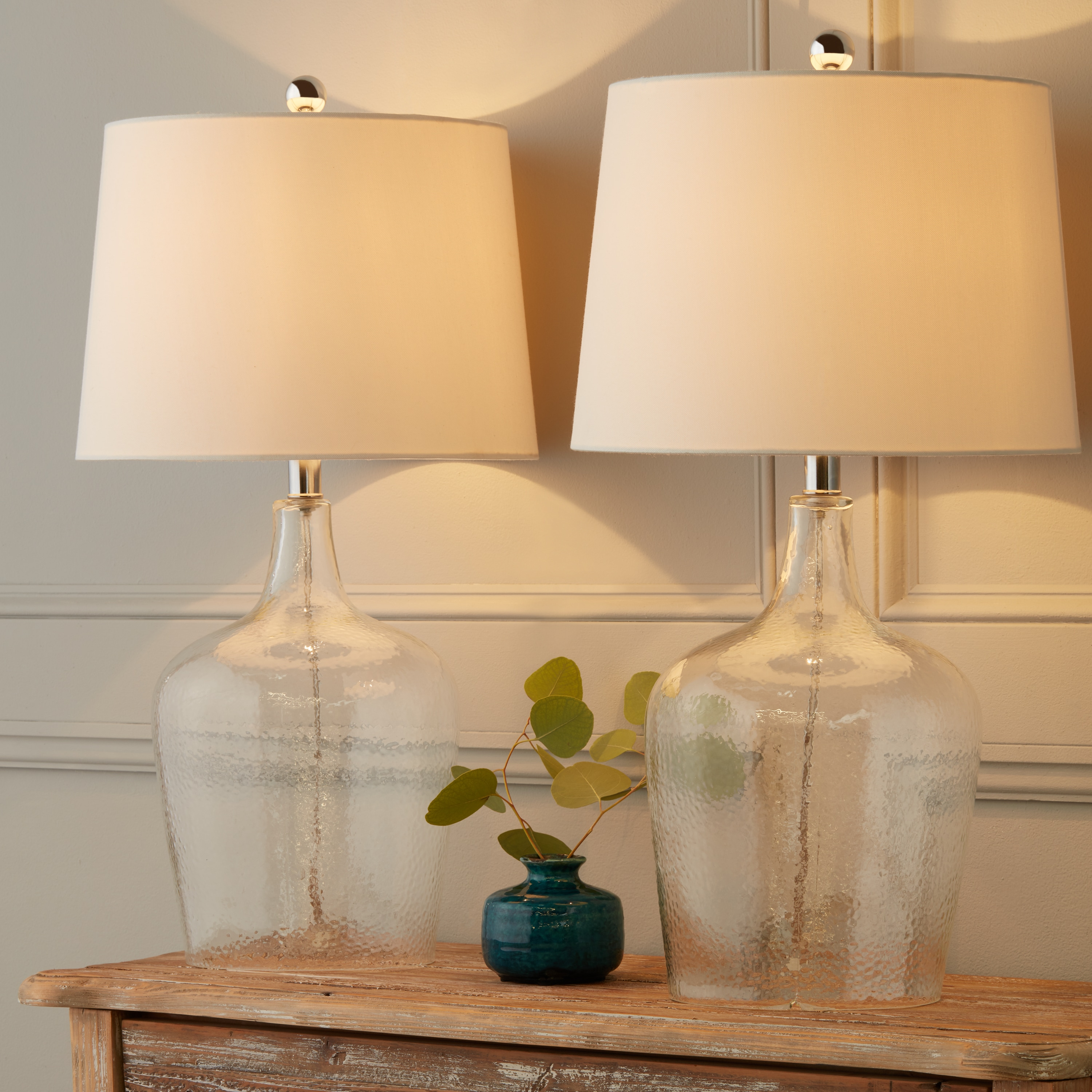 Shop Abbyson Azure Clear Glass 27 5 Inch Table Lamp Set Of 2 On