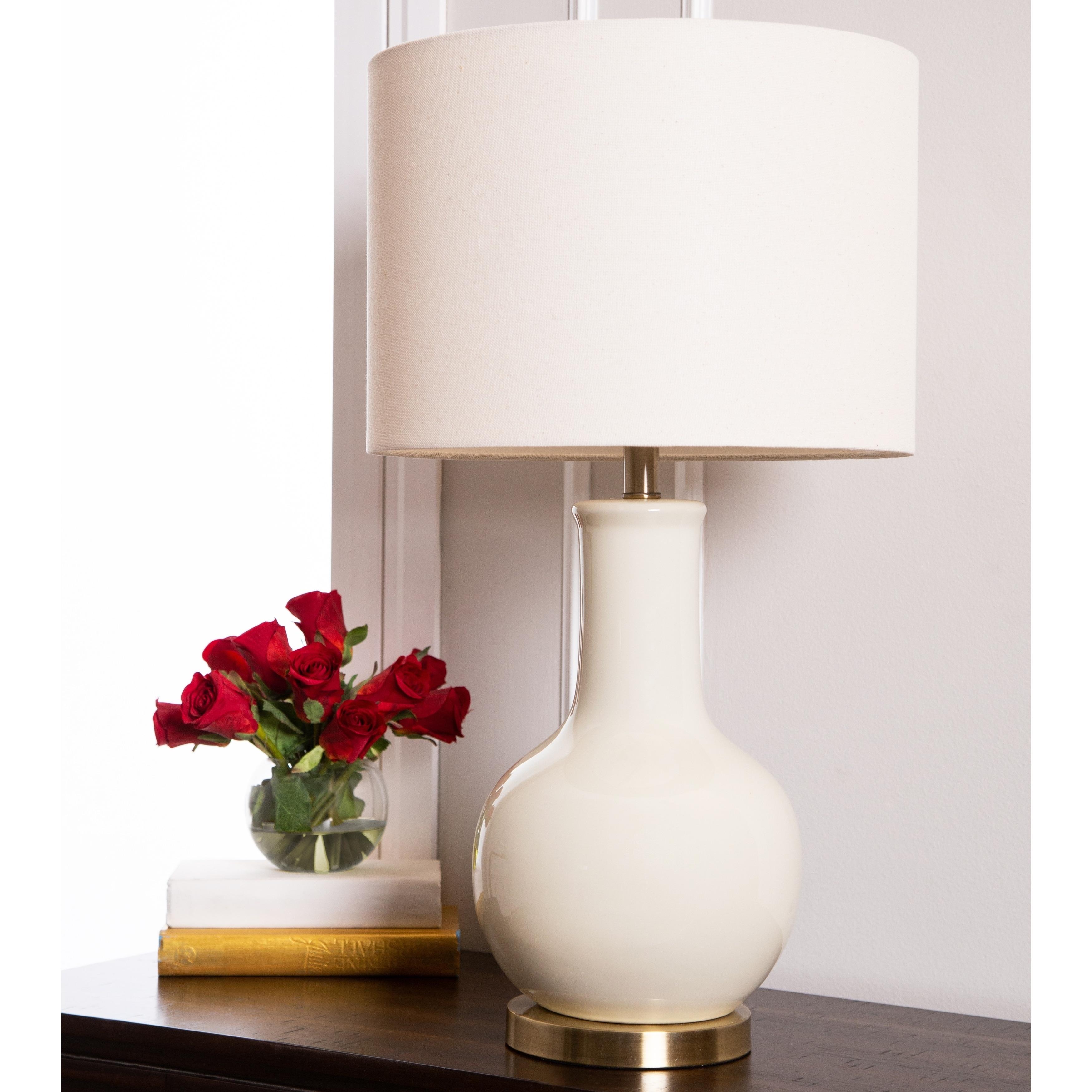 Shop Abbyson Gourd Beige Ceramic 29 Inch Table Lamp On Sale Free