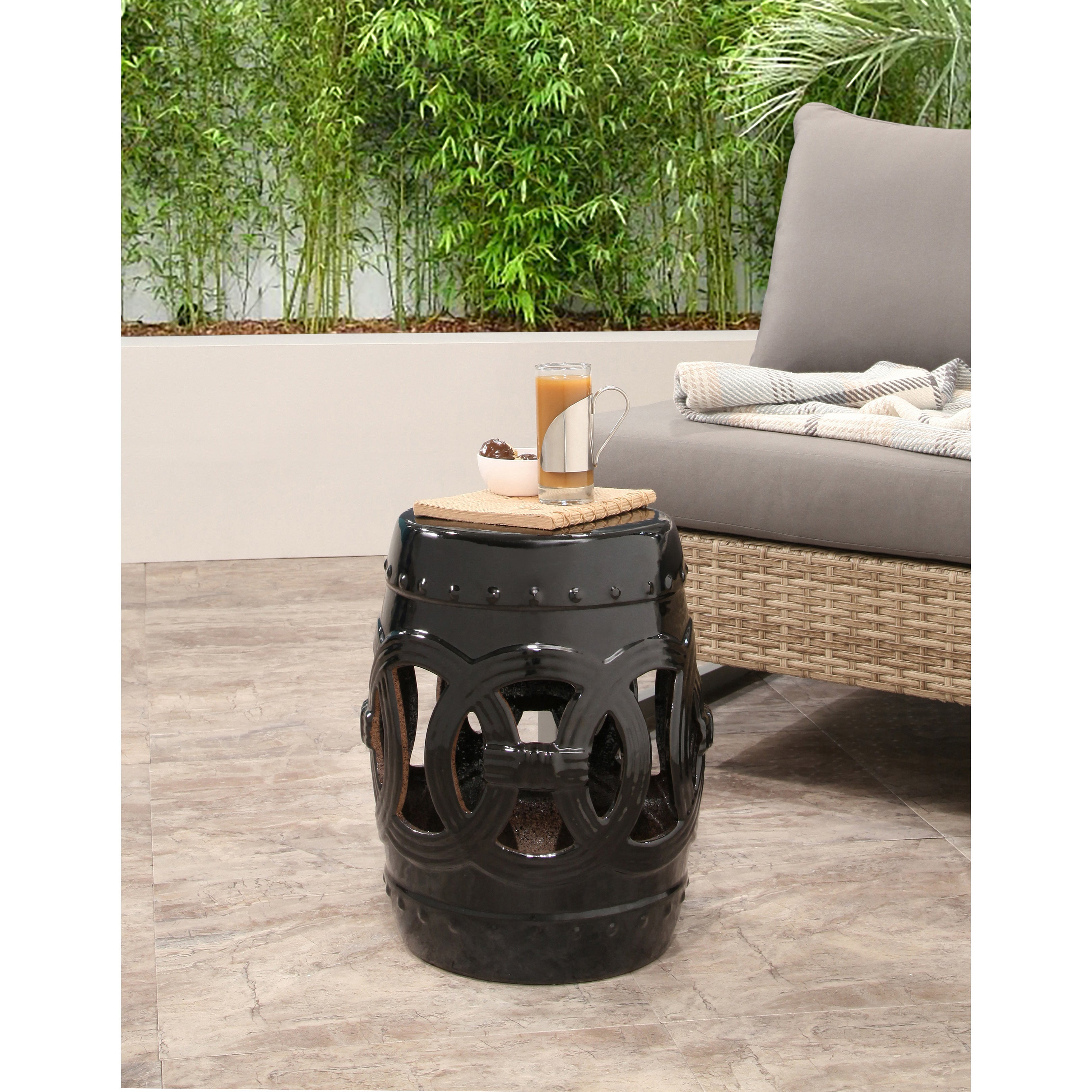 Shop Abbyson Moroccan Black Garden Accent Stool   On Sale   Free Shipping  Today   Overstock.com   9625198