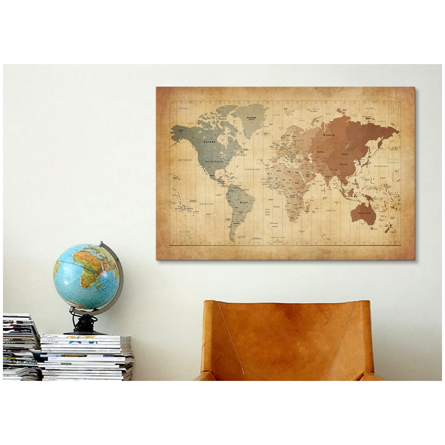Shop iCanvas Michael Thompsett Map of The World III Canvas Print ...