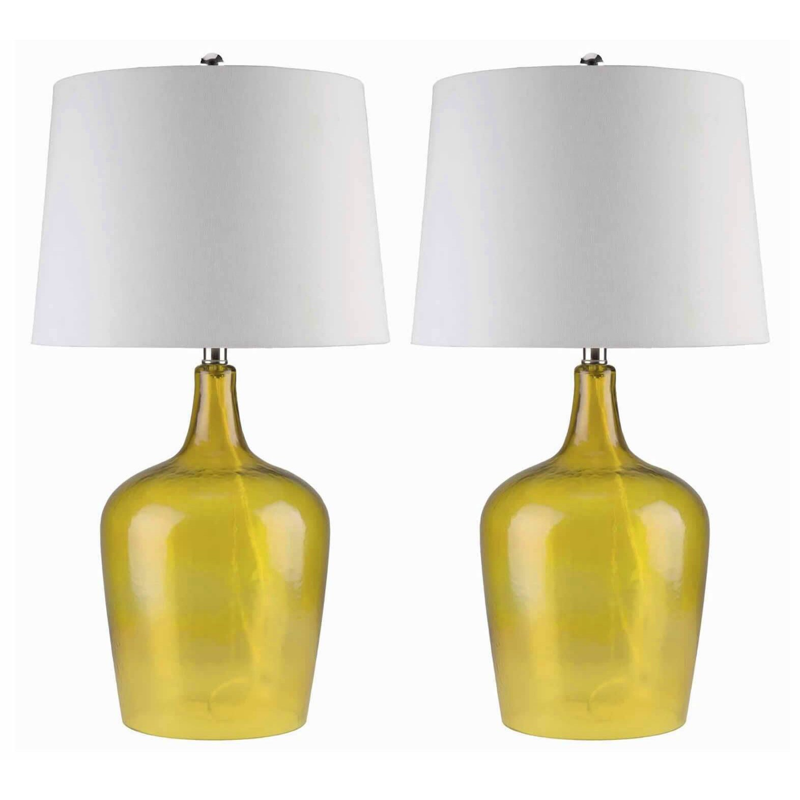 Shop Abbyson Azure Yellow Glass Table Lamp Set Of 2 Free