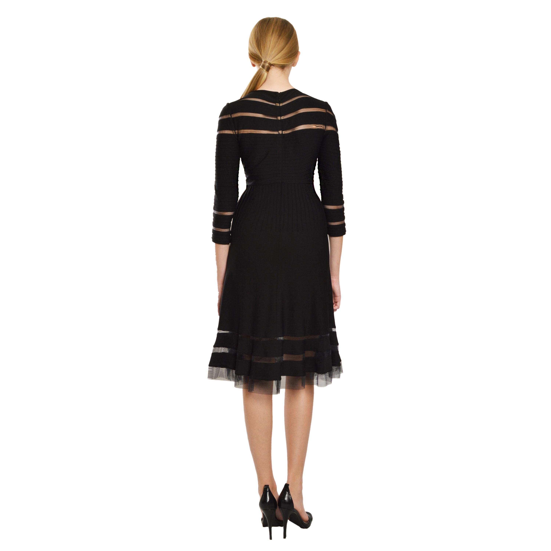 166d03a5f873 Shop Tadashi Shoji Women s Black Boat-neck Paneled Cocktail Dress ...