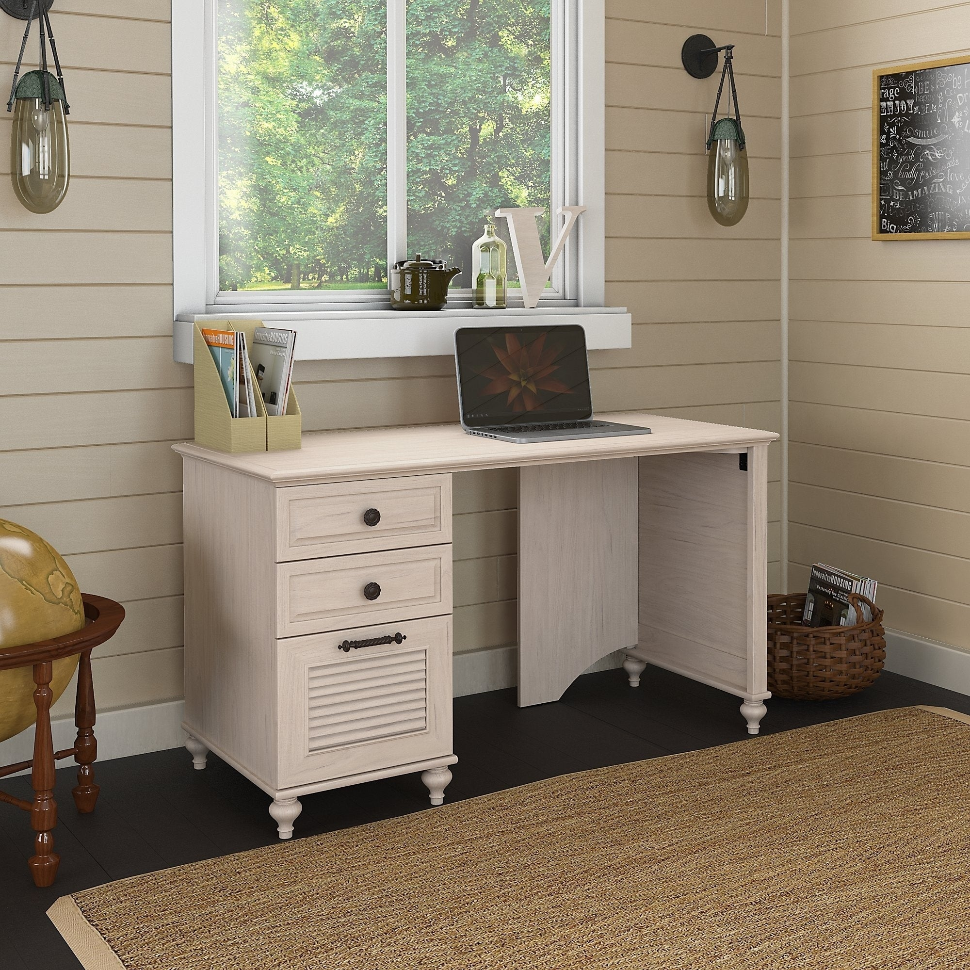Shop kathy ireland office volcano dusk desk 3 drawer pedestal free shipping today overstock com 9627962