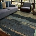 Carolina Weavers Grand Comfort Collection Curry Blue Shag Area Rug (7'10 x 10'10)