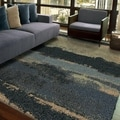 Carolina Weavers Comfy and Cozy Grand Comfort Collection Curry Blue Shag Area Rug (7'10 x 10'10)