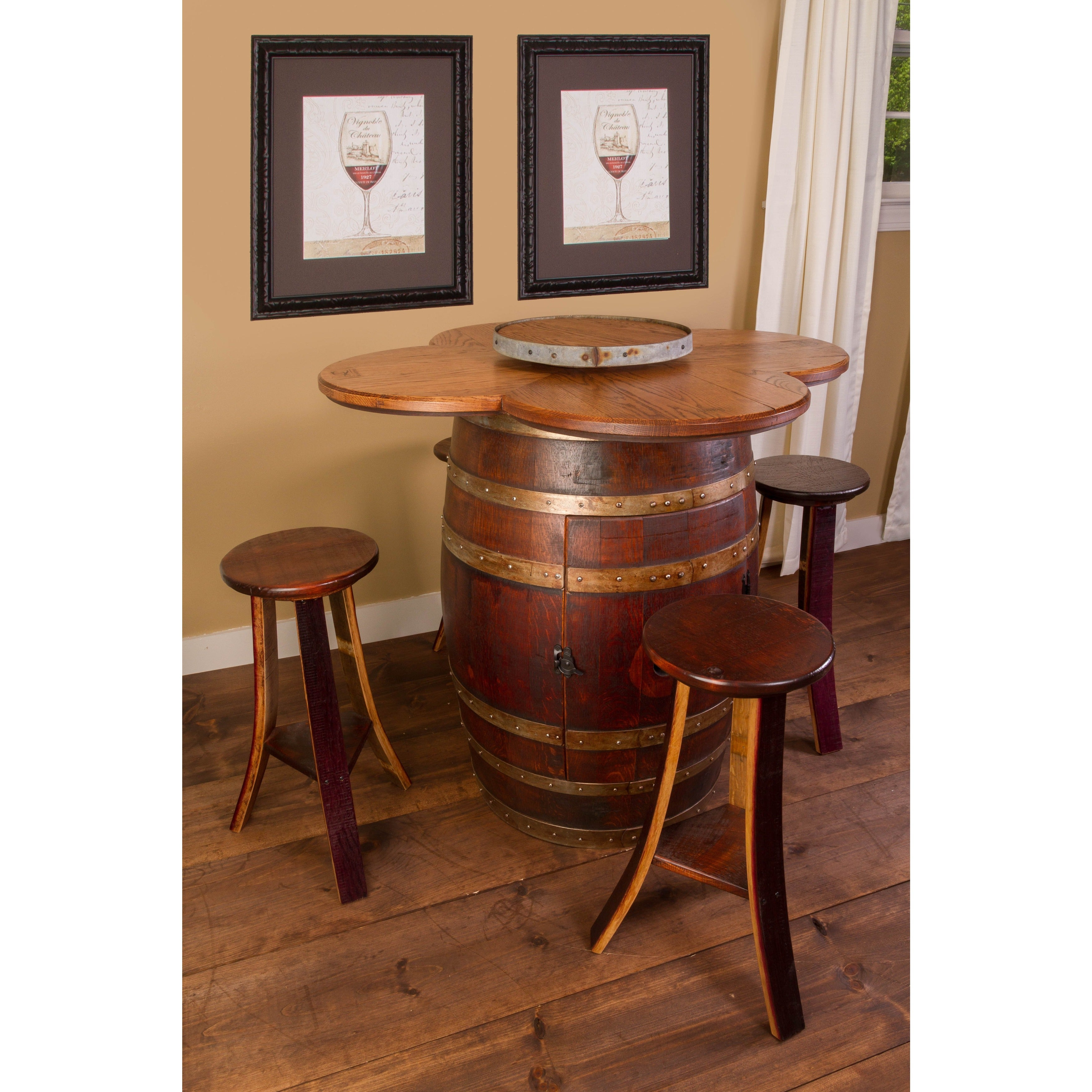 Shop Wine Barrel Table Set With Open Rack Base   Free Shipping Today    Overstock.com   9630917
