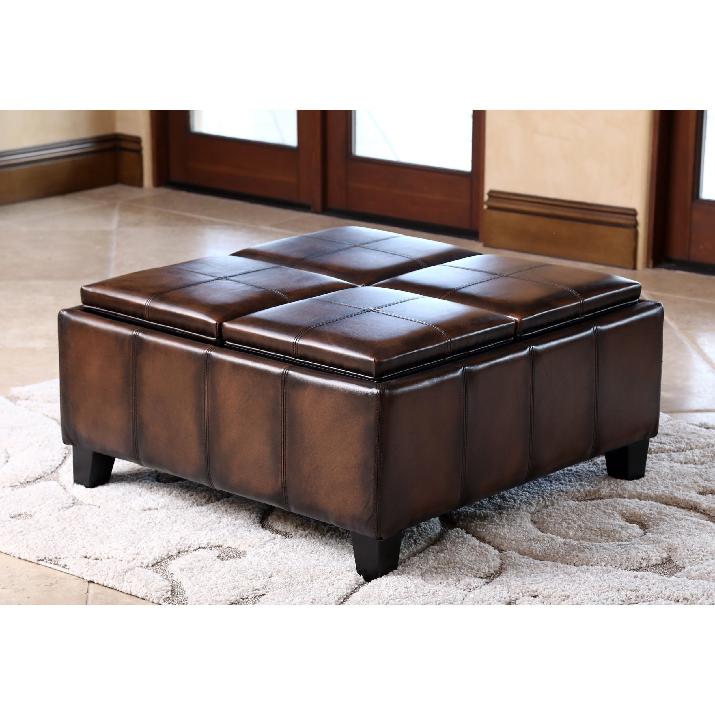 Abbyson Vincent Hand Rubbed Brown Leather Square Ottoman With 4