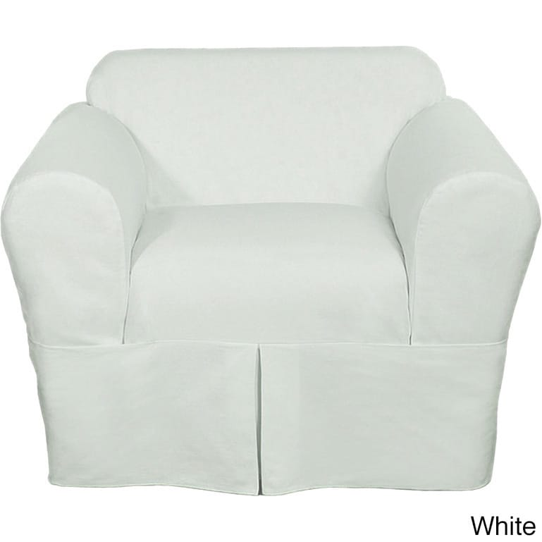 Shop Classic Two Piece Twill Chair Slipcover   Free Shipping Today    Overstock.com   9634434