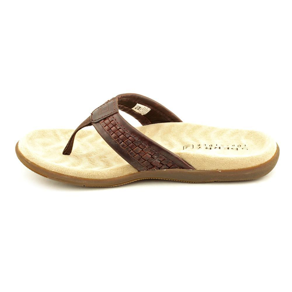024f1ee4c1b8 Shop Sperry Top Sider Men s  Largo Thong Woven  Leather Sandals - Free  Shipping Today - Overstock - 9635064
