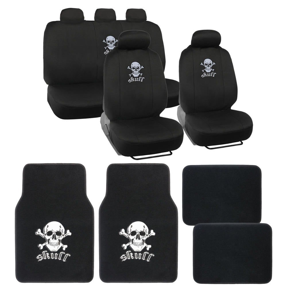 Shop BDK Full Set Skull Car Seat Covers and Floor Mats - Free ...