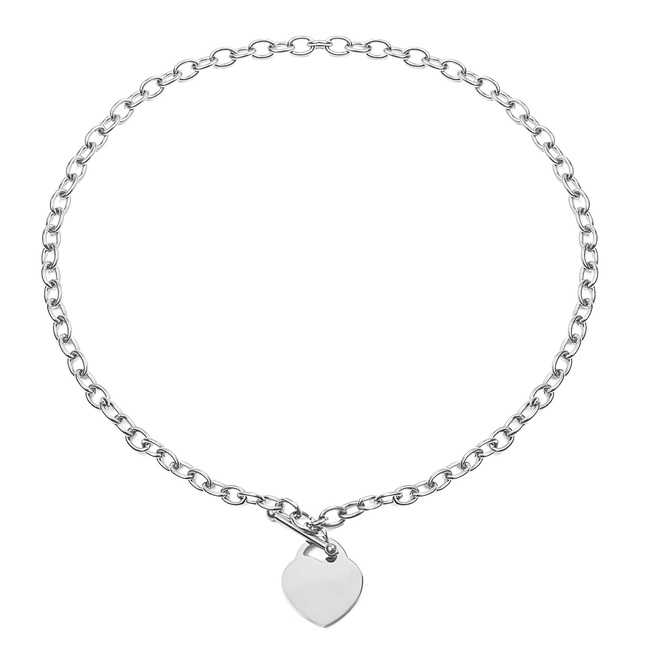 277f582d229 Stainless Steel Heart Charm Toggle Necklace