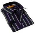 Brio Milano Men's Blue and Purple Stripe Button-up Dress Shirt