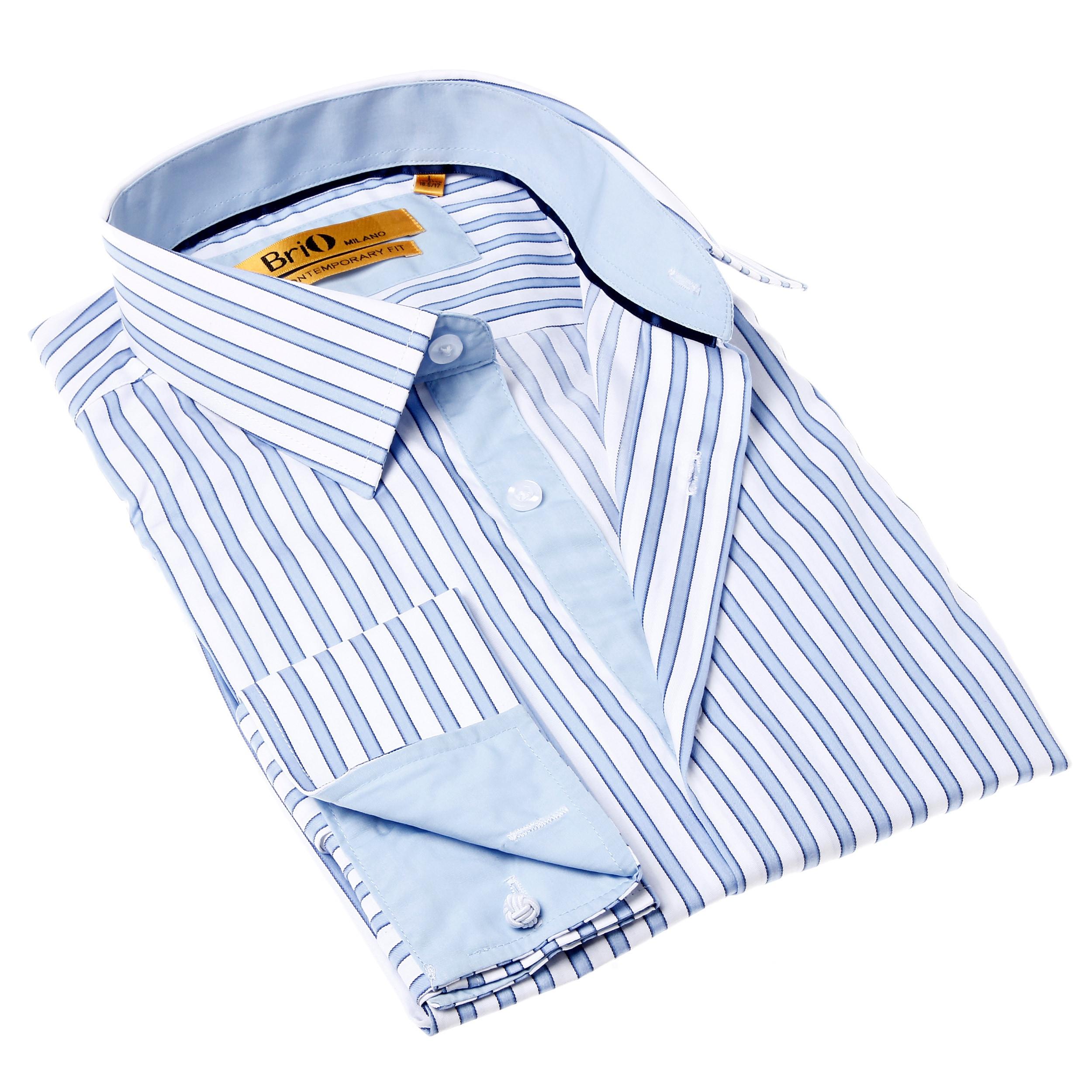 Shop Brio Milano Mens Stripe Blue And White Button Up Dress Shirt