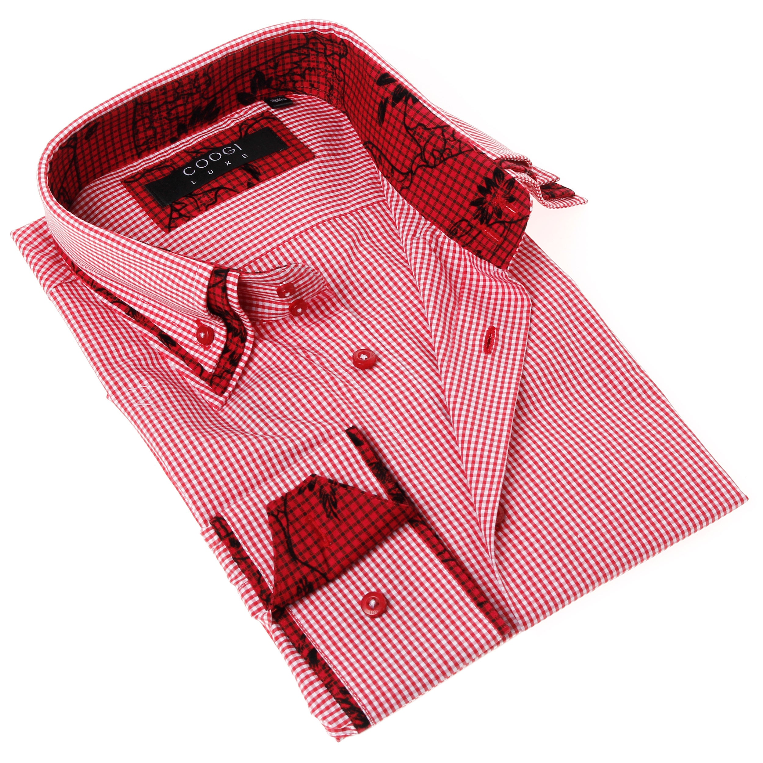 Shop Coogi Luxe Mens Red And White Gingham Button Up Dress Shirt