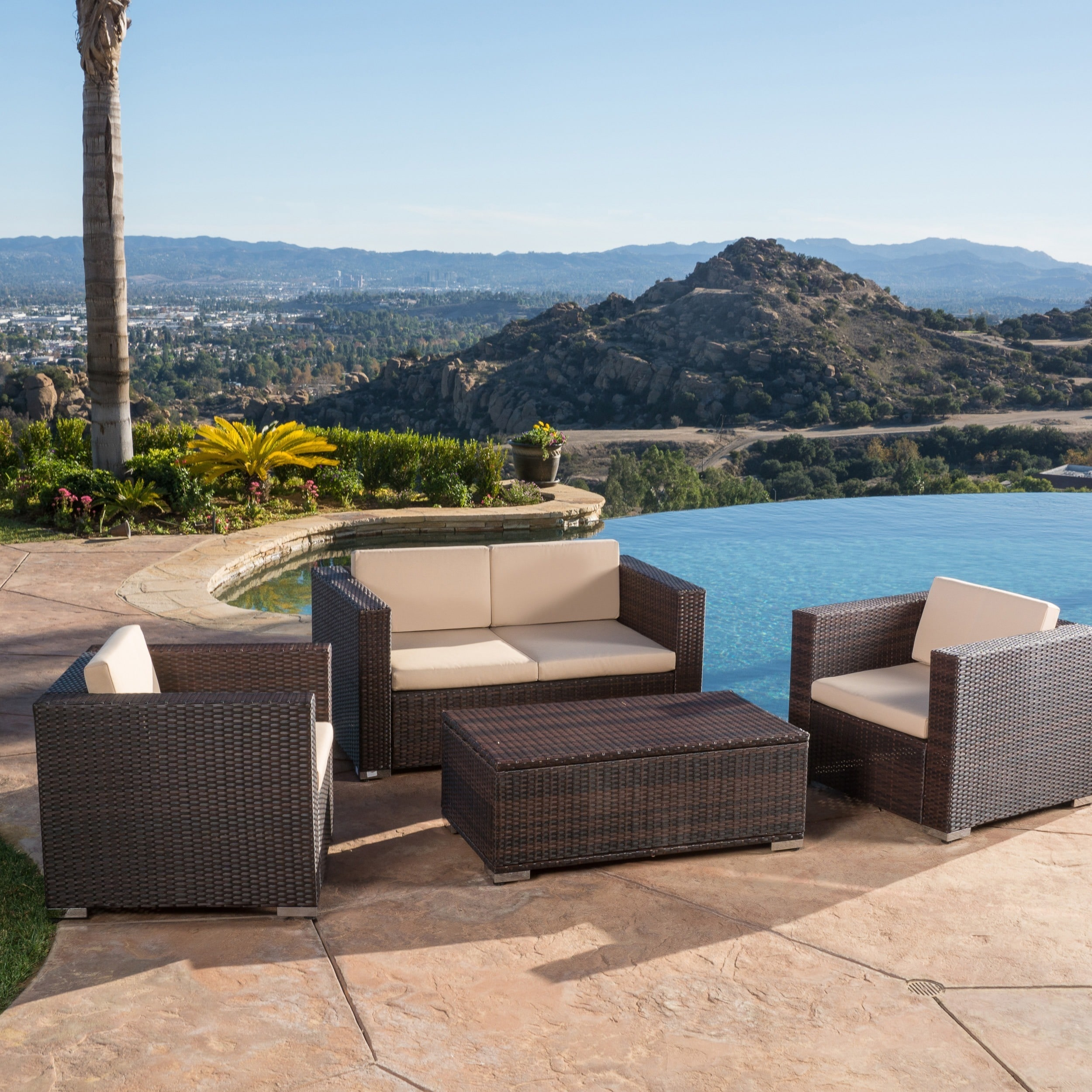 Shop Murano 4 Piece Outdoor Wicker Sofa Set By Christopher Knight Home   On  Sale   Free Shipping Today   Overstock.com   9643571