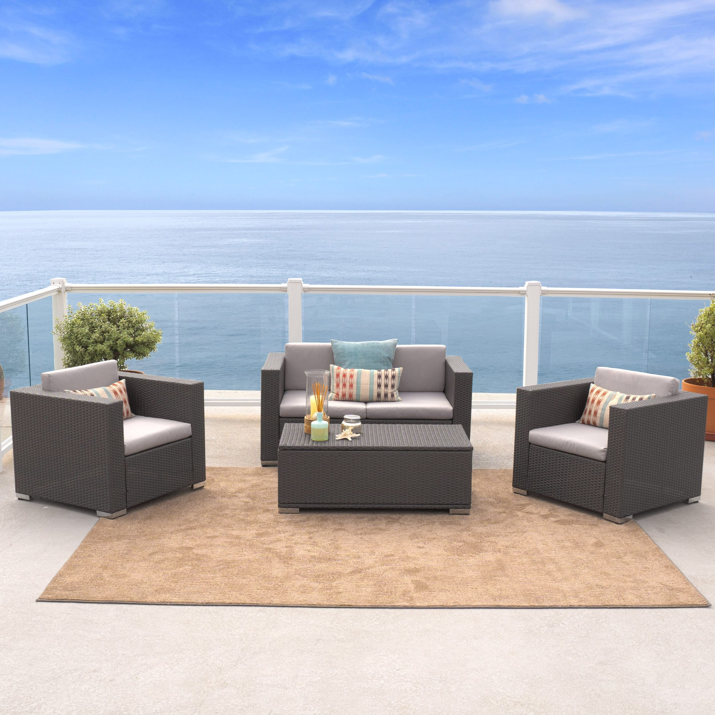 Murano 4 Piece Outdoor Wicker Sofa Set By Christopher Knight Home On Free Shipping Today 9643571