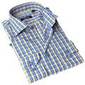 Georges Rech Men's Blue and Yellow Plaid Button-up Dress Shirt