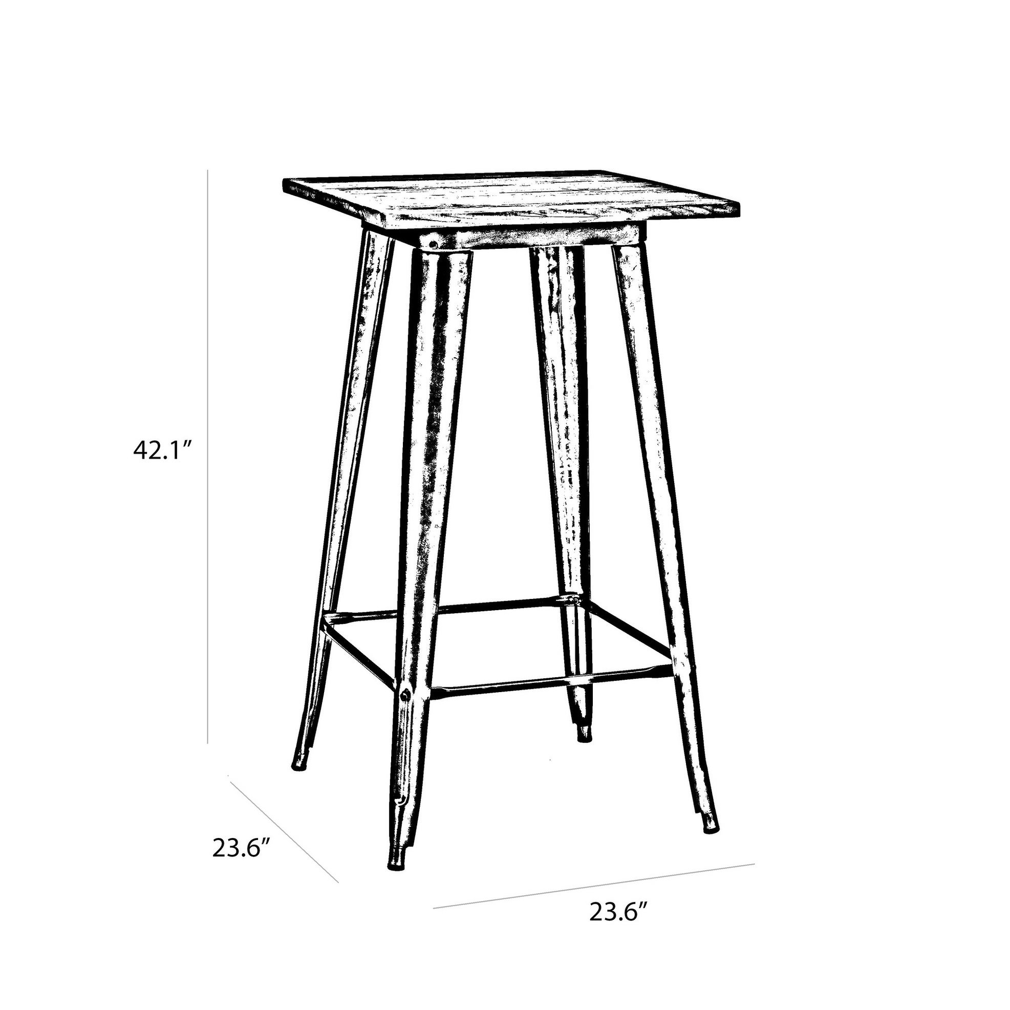 Amalfi Glossy White Elm Wood Top Steel Bar Table 42 Inch   Free Shipping  Today   Overstock   16827726