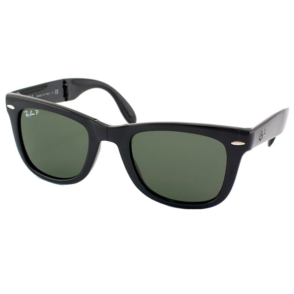 662ac59394723 Shop Ray-Ban Wayfarer Folding RB 4105 Unisex Black Frame Green Polarized  Sunglasses - Free Shipping Today - Overstock - 9643864