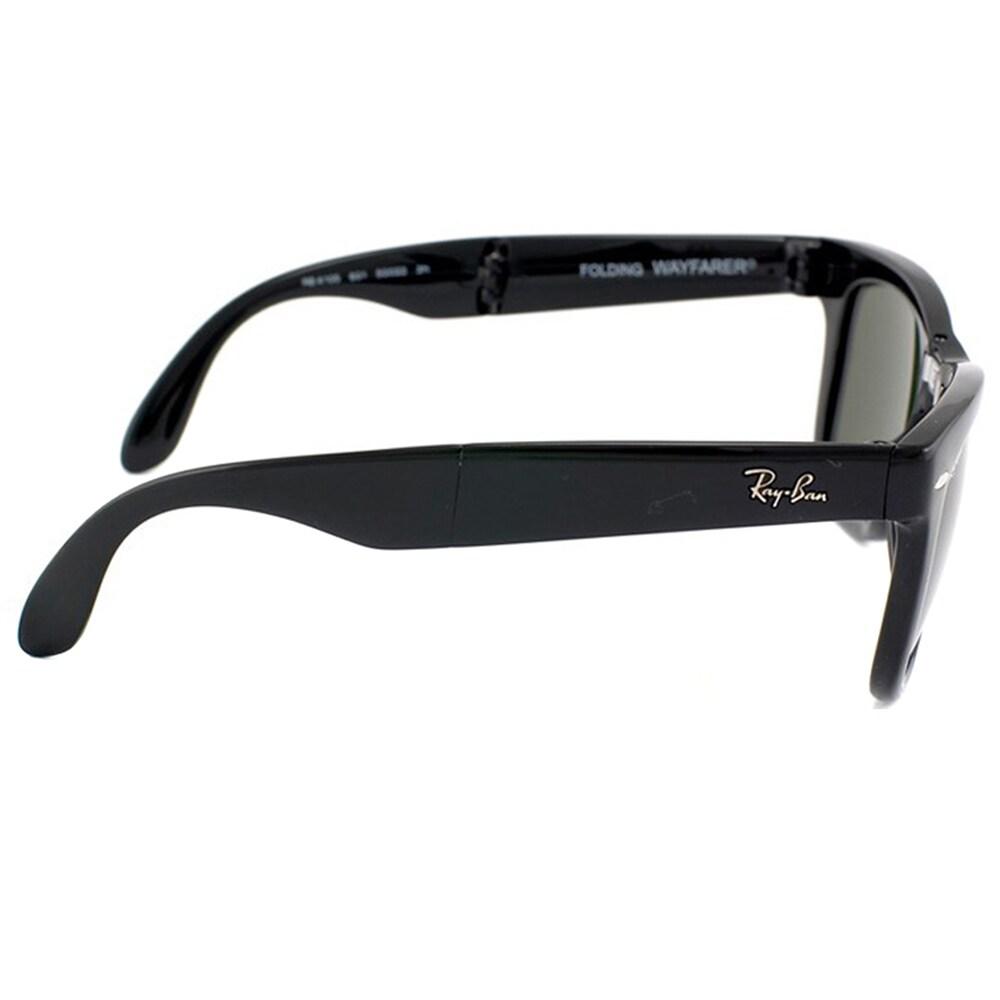 3ee5cccea12 Shop Ray-Ban Wayfarer Folding RB 4105 Unisex Black Frame Green Polarized  Sunglasses - Free Shipping Today - Overstock - 9643864