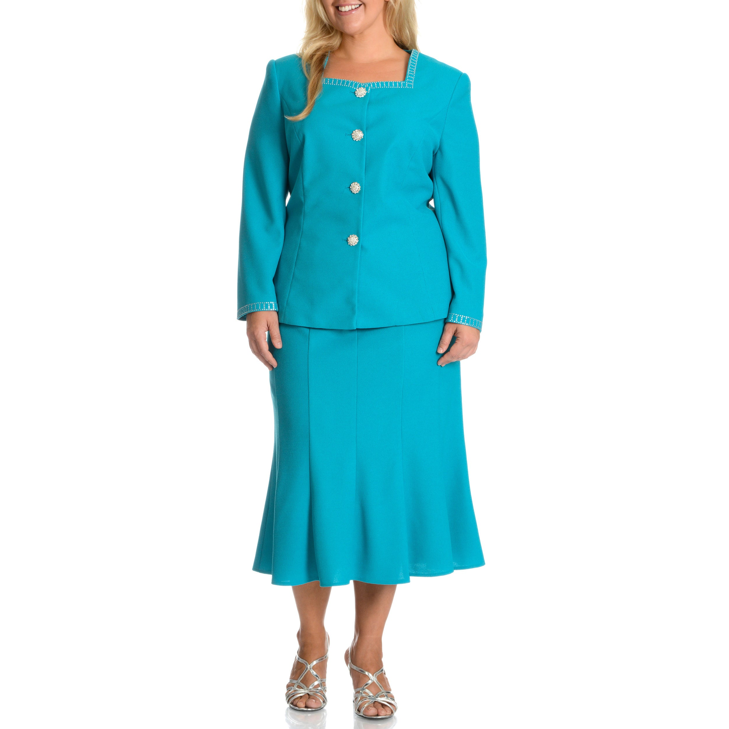 Shop Mia-Knits Collection Women\'s Plus Size Skirt Suit - Free ...